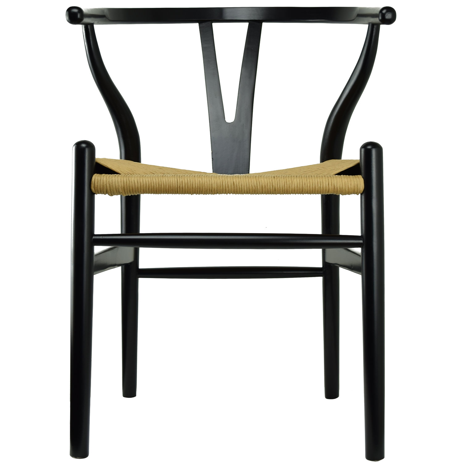 2xhome Black Wishbone Wood Armchair With Arms Open Y Back Open Mid Century Modern Contemporary Assembled Chair Dining Chairs Woven Seat Brown For Kitchen Living Desk Office Guest Work Home Accent