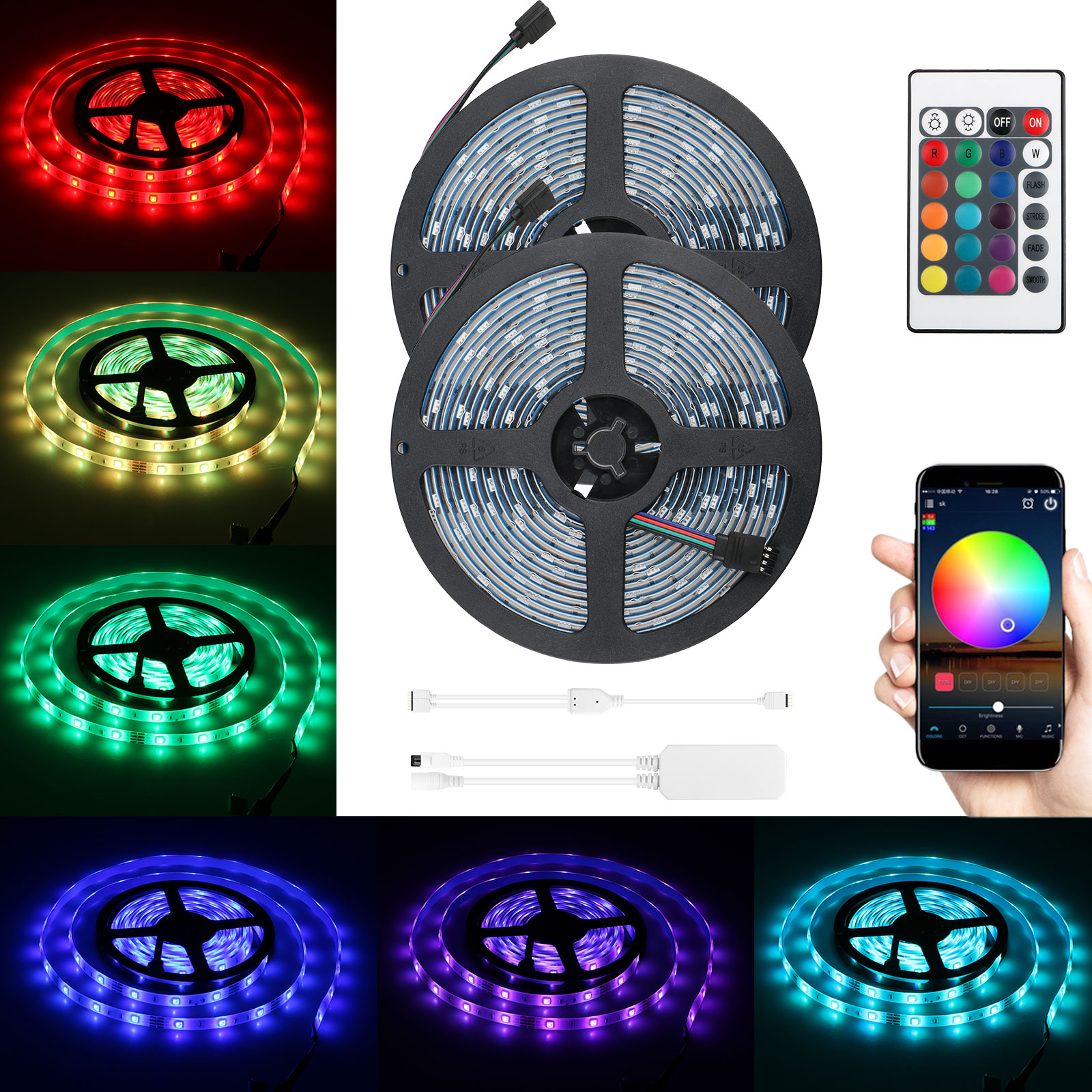 Led Light Strips Rgb 2 Pack Rgb Led Light Strip 32 8ft Waterproof Smart Wifi Controller Strip Light Kit 5050 Smd Led Lights Working With Android And Ios System