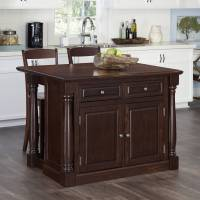 Kitchen Island with Two Stools in Cherry Finish - Walmart.com
