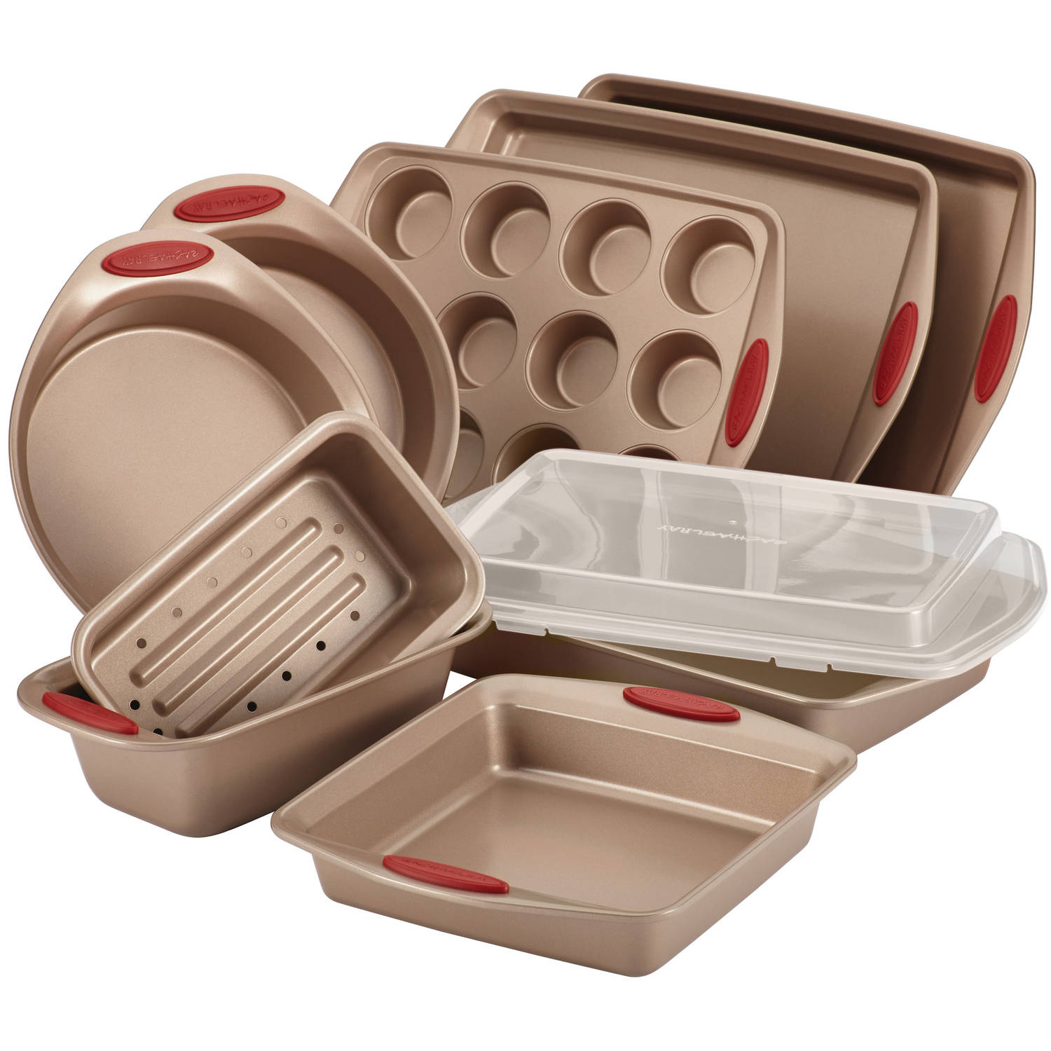Set Da Cucina Exclusive Rachael Ray Cucina Nonstick Bakeware 10 Pc Set Brown With Red Handles