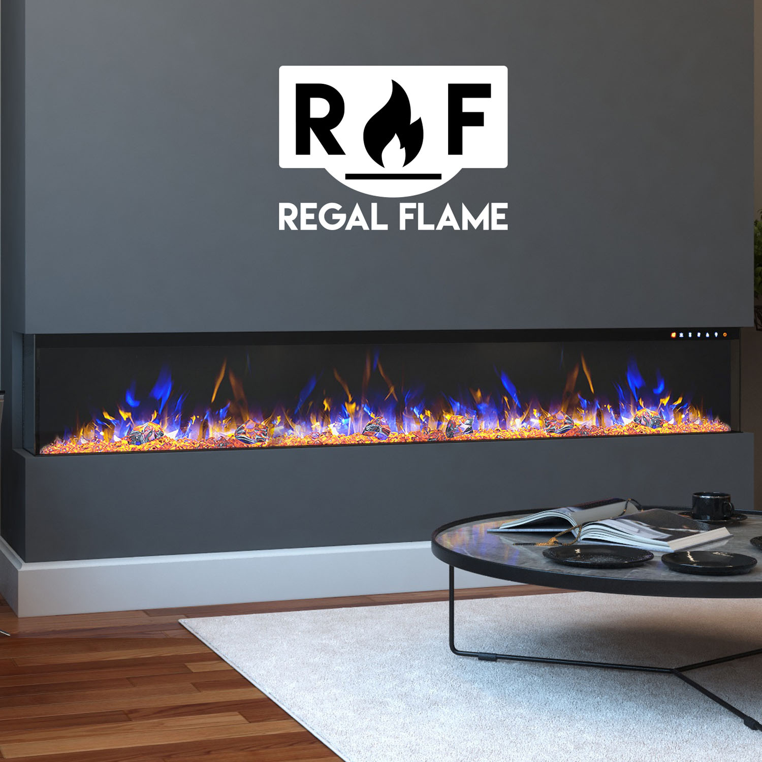 Regal Flame Lw3572 72 In Spectrum Modern Linear Electric 3 Sided Wall Mounted Built In Recessed Fireplace 44 72 X 7 9 X 10 1 In Walmart Com Walmart Com
