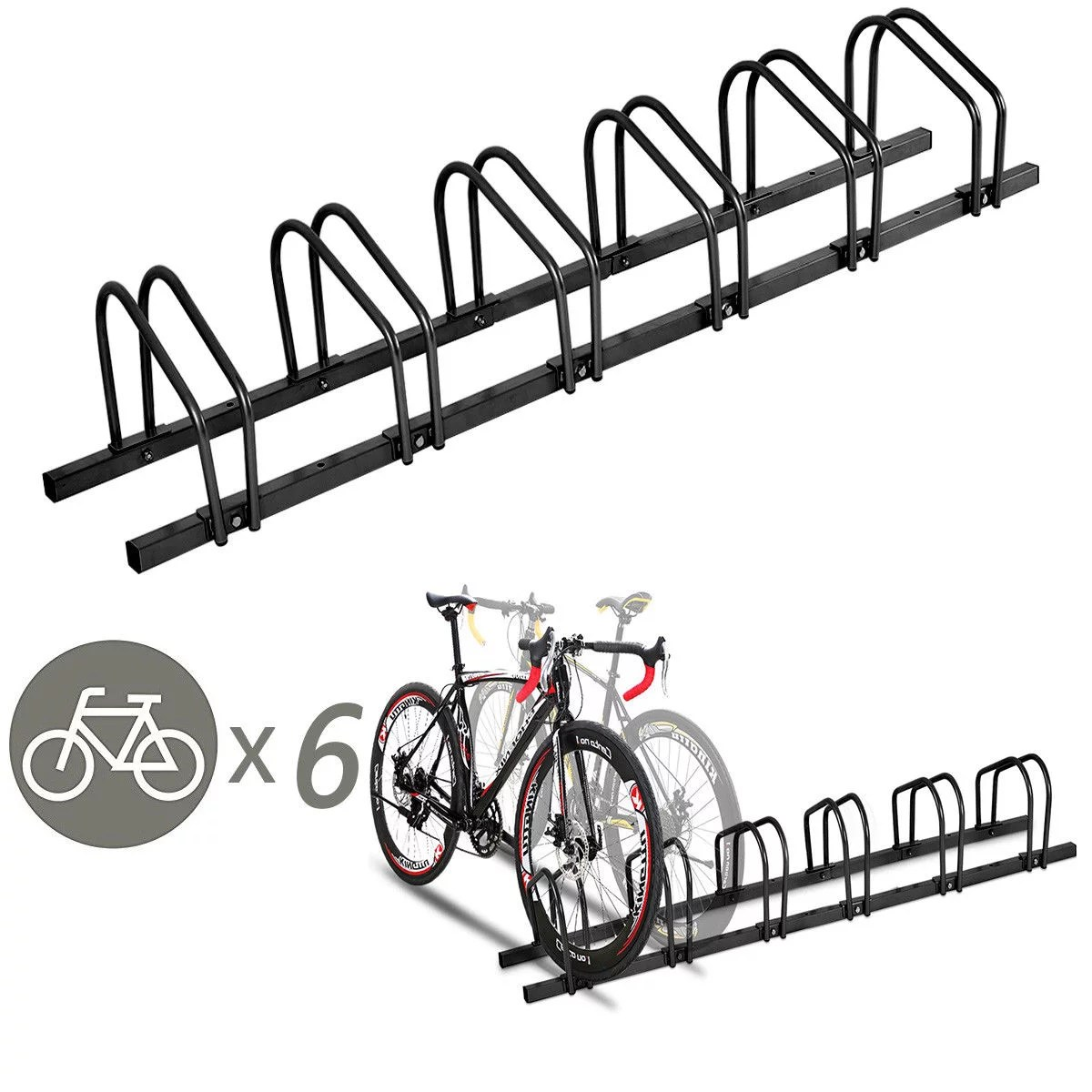 Parking Garage Bike Rack Gymax 6 Bike Bicycle Stand Parking Garage Storage Cycling Rack Black