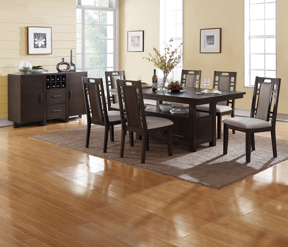 Modern Contemporary 7pc Dining Set Earthy Grey Hues Dining Table Functional Lower Display Space Padded Side Chairs W Cut Outs Dining Room Furniture Walmart Com Walmart Com