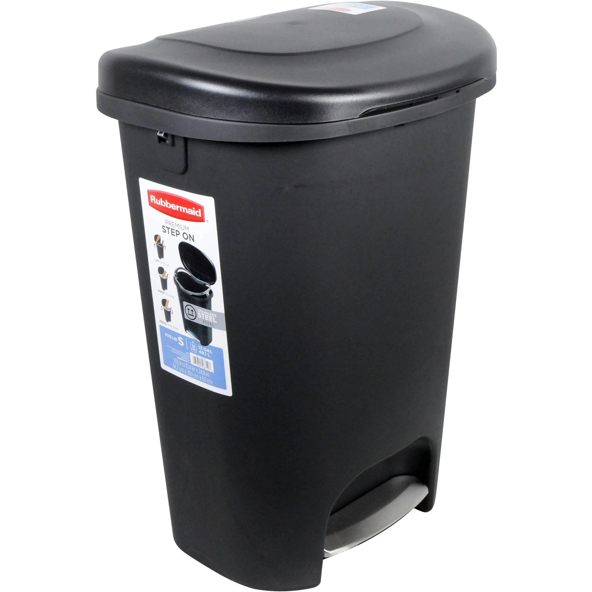 Metal Indoor Trash Can Rubbermaid 2007867 13 Gallon Black Step On Trash Can