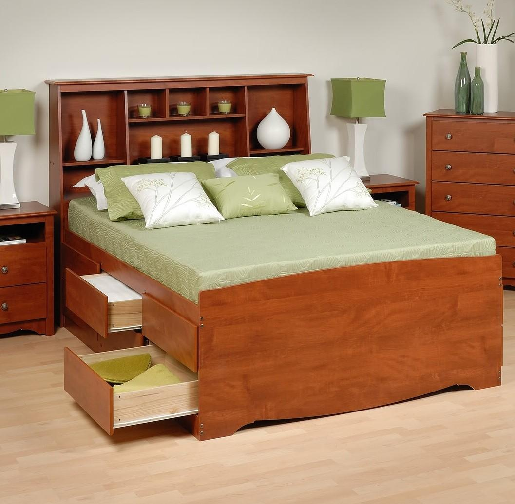 Storage Beds Australia Tall Captain S Platform Storage Bed W Bookcase Headboard Bed Size Full Color Cherry