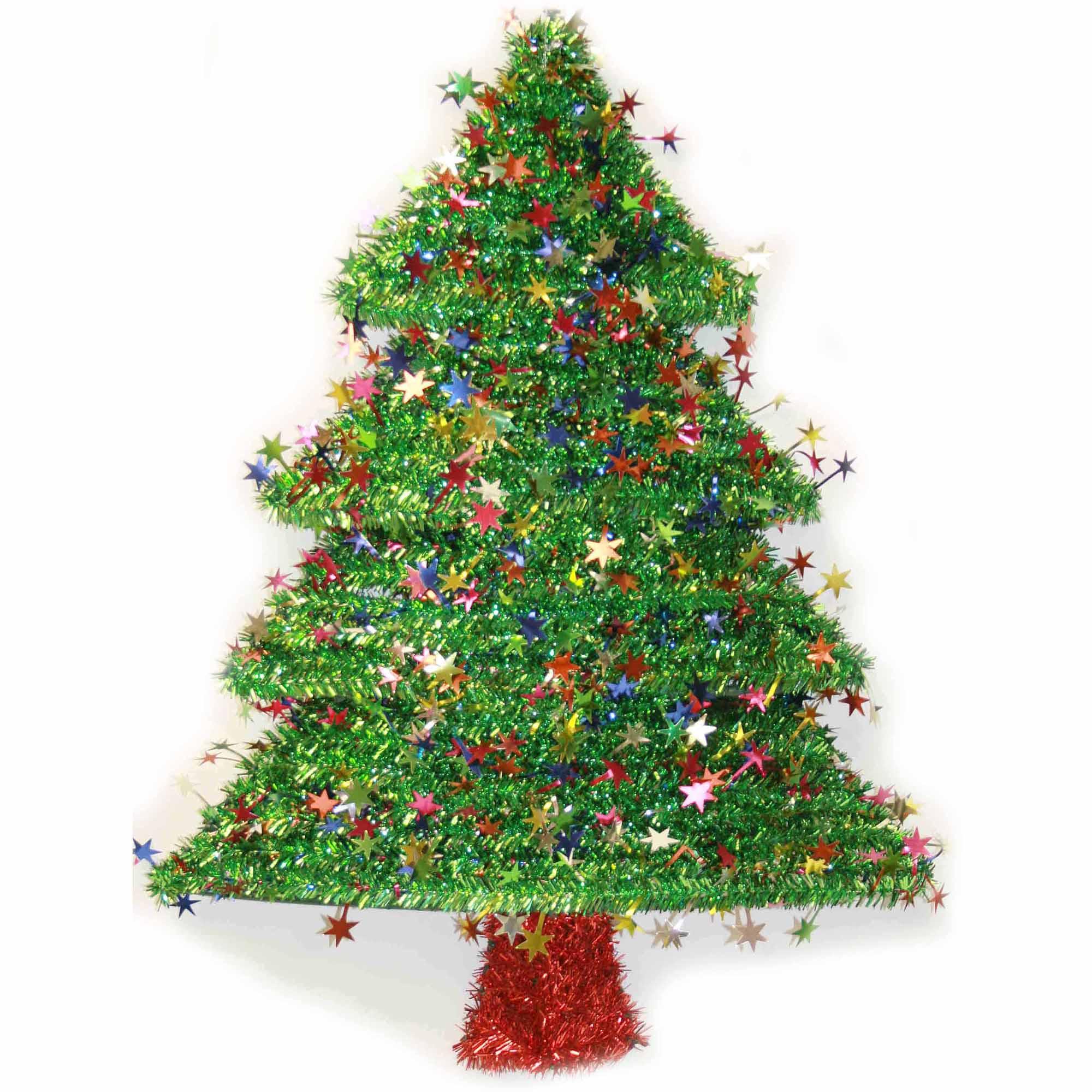 "18"" 2D Tinsel Christmas Tree Wreath Decoration"