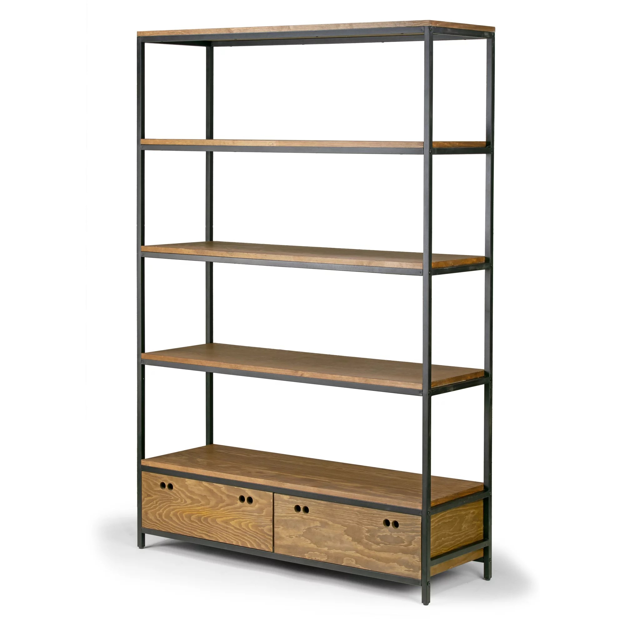 Etagere Metal Alta Brown Pine Wood Display Shelf Etagere Metal Frame Bookcase With Drawers