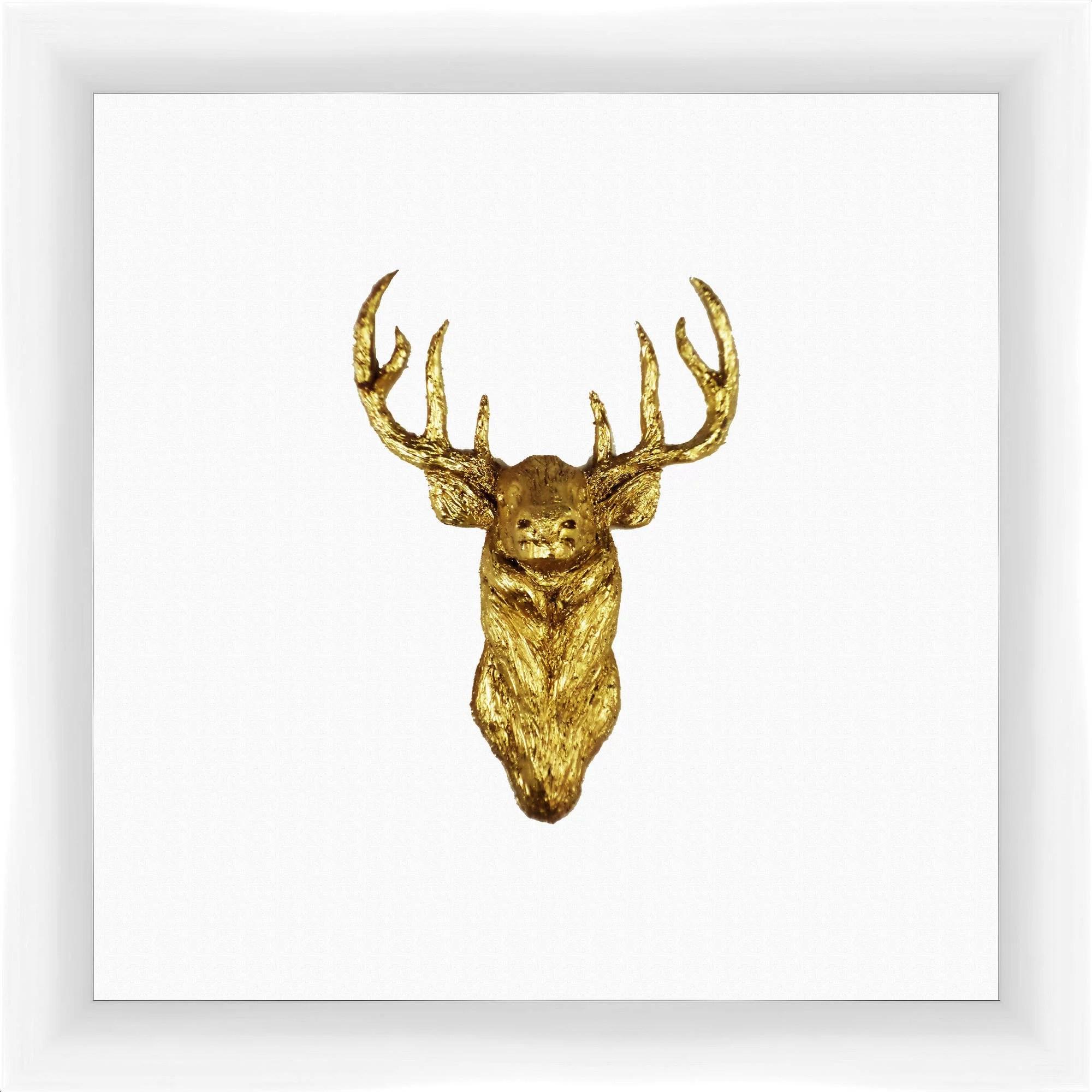 Gold Deer 14X14 Wall Art