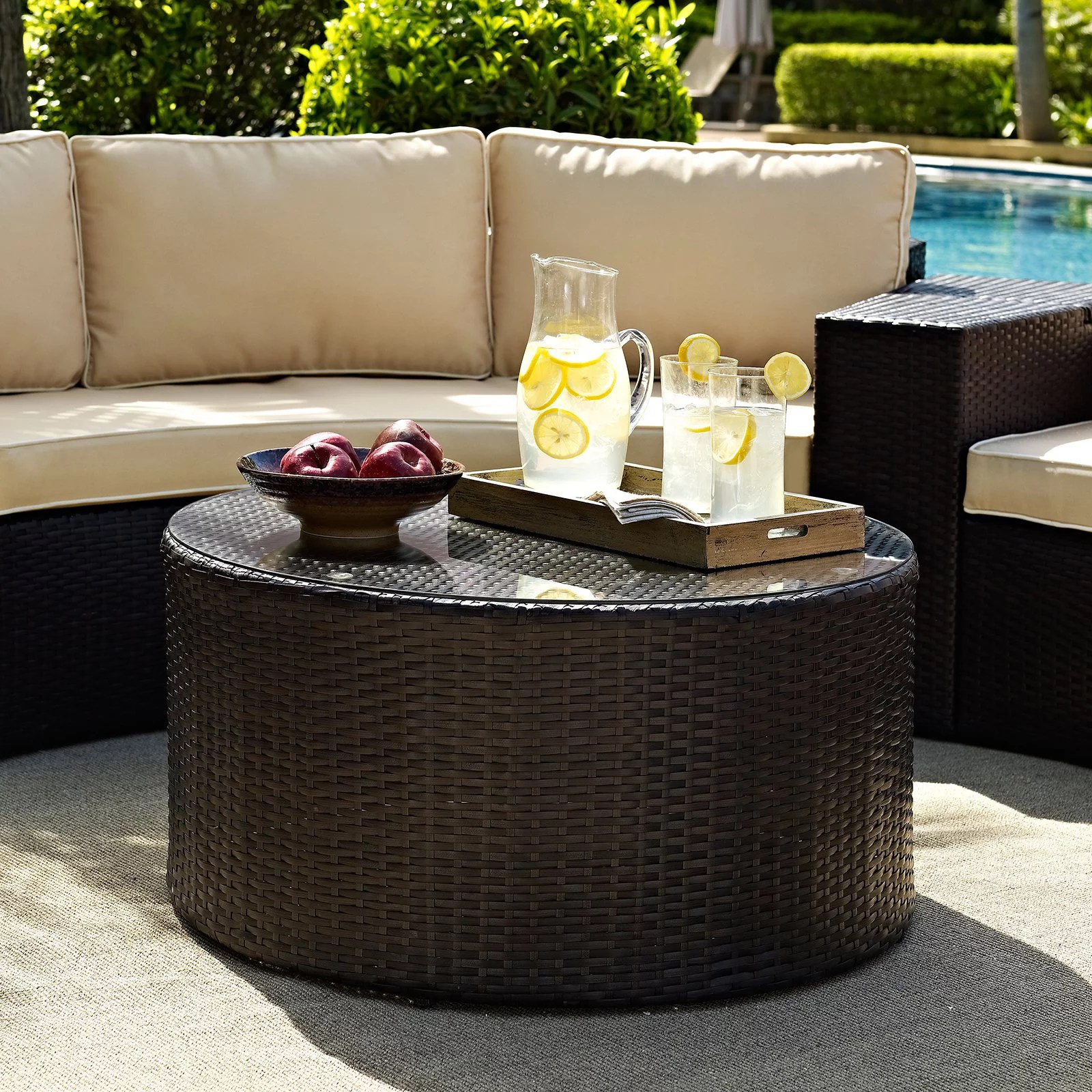 Round Glass Top Coffee Table Crosley Furniture Catalina Outdoor Wicker Round Glass Top Coffee Table