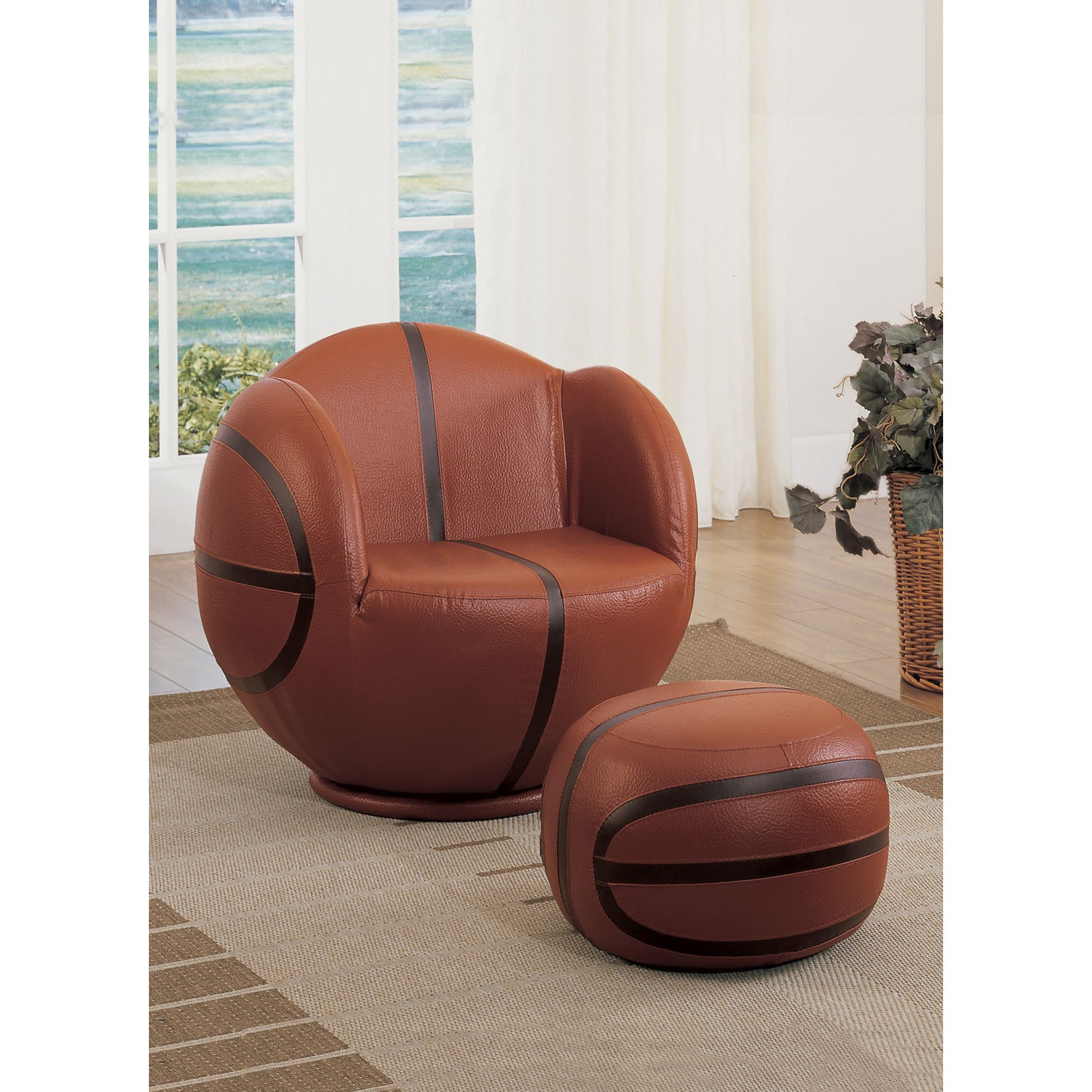 Chair Ottoman 2pc Pack Chair Ottoman Basketball Pu Wood Plywood Sponge Basketball Brown Black