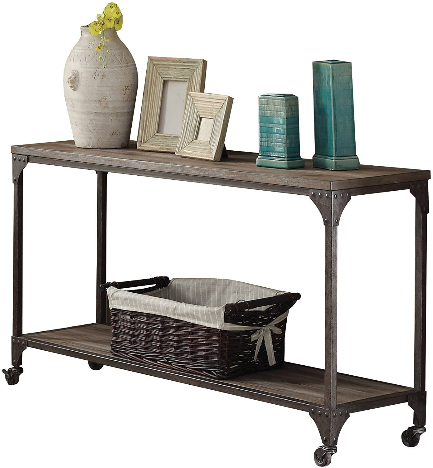 Sofa Table With Wheels And Open Shelf Weathered Oak And Antique Nickel Walmart Com Walmart Com