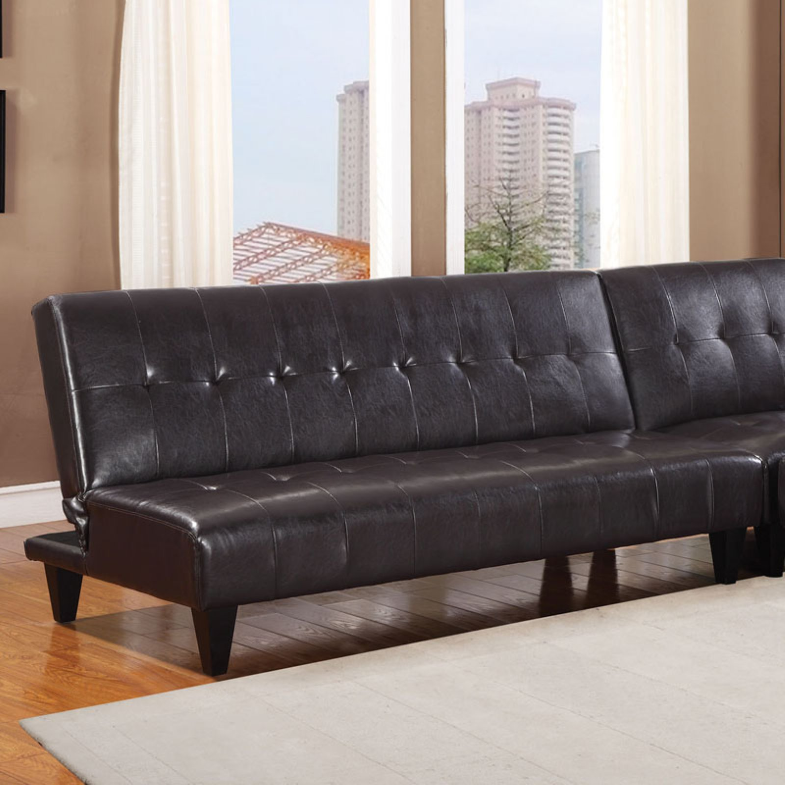 Futon Factory Paris Faux Leather Bycast Adjustable Futon Sofa Multiple Colors