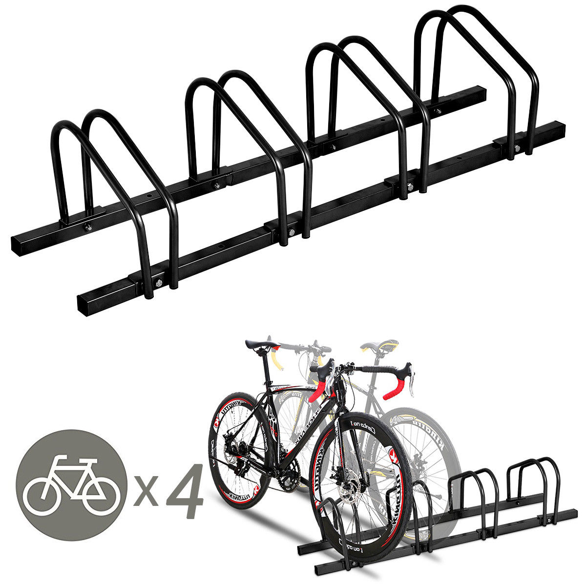 Parking Garage Bike Rack Gymax 4 Bike Bicycle Stand Parking Garage Storage Cycling Rack Black