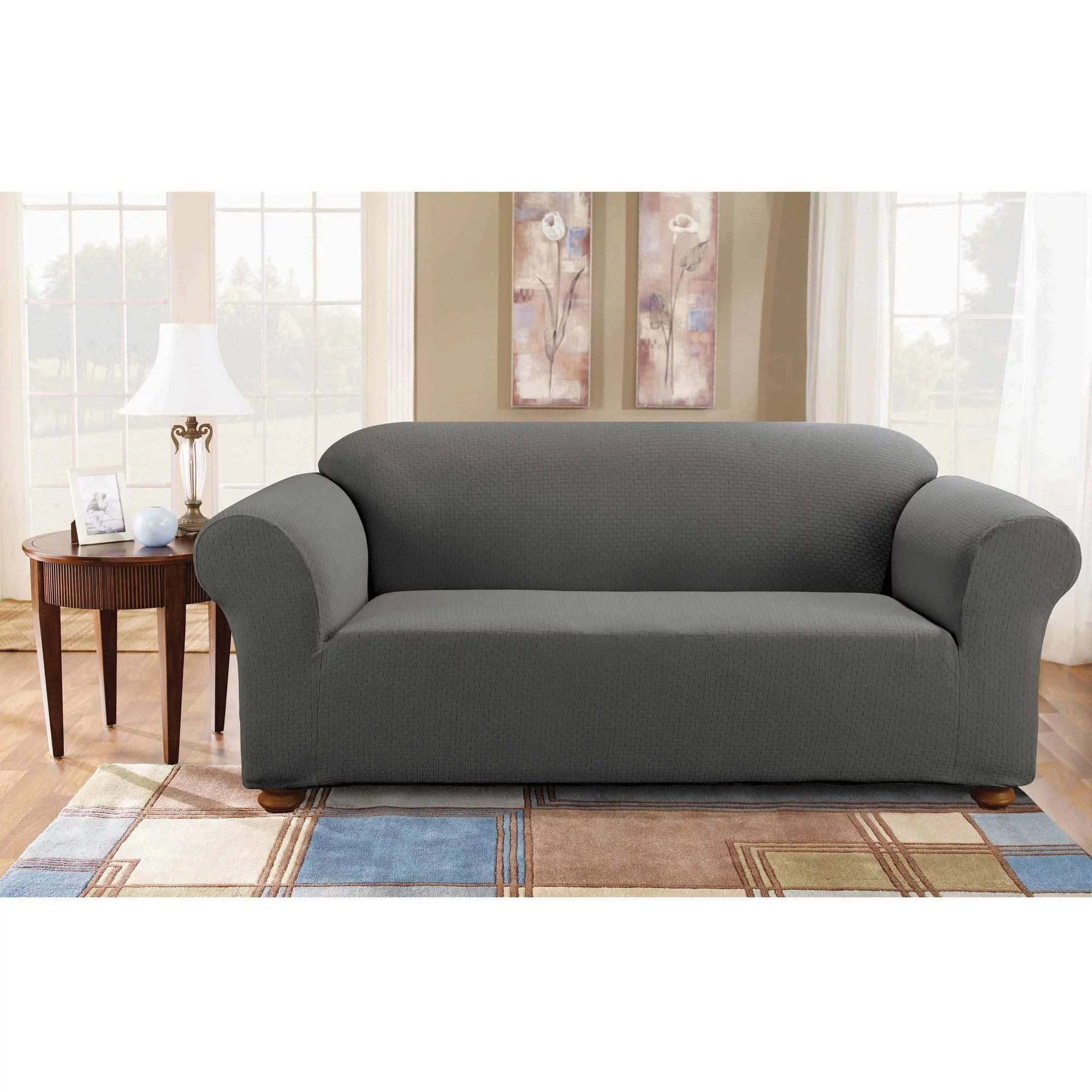 Grey Sofa Slipcover Sure Fit Simple Stretch Subway One Piece Sofa Slipcover