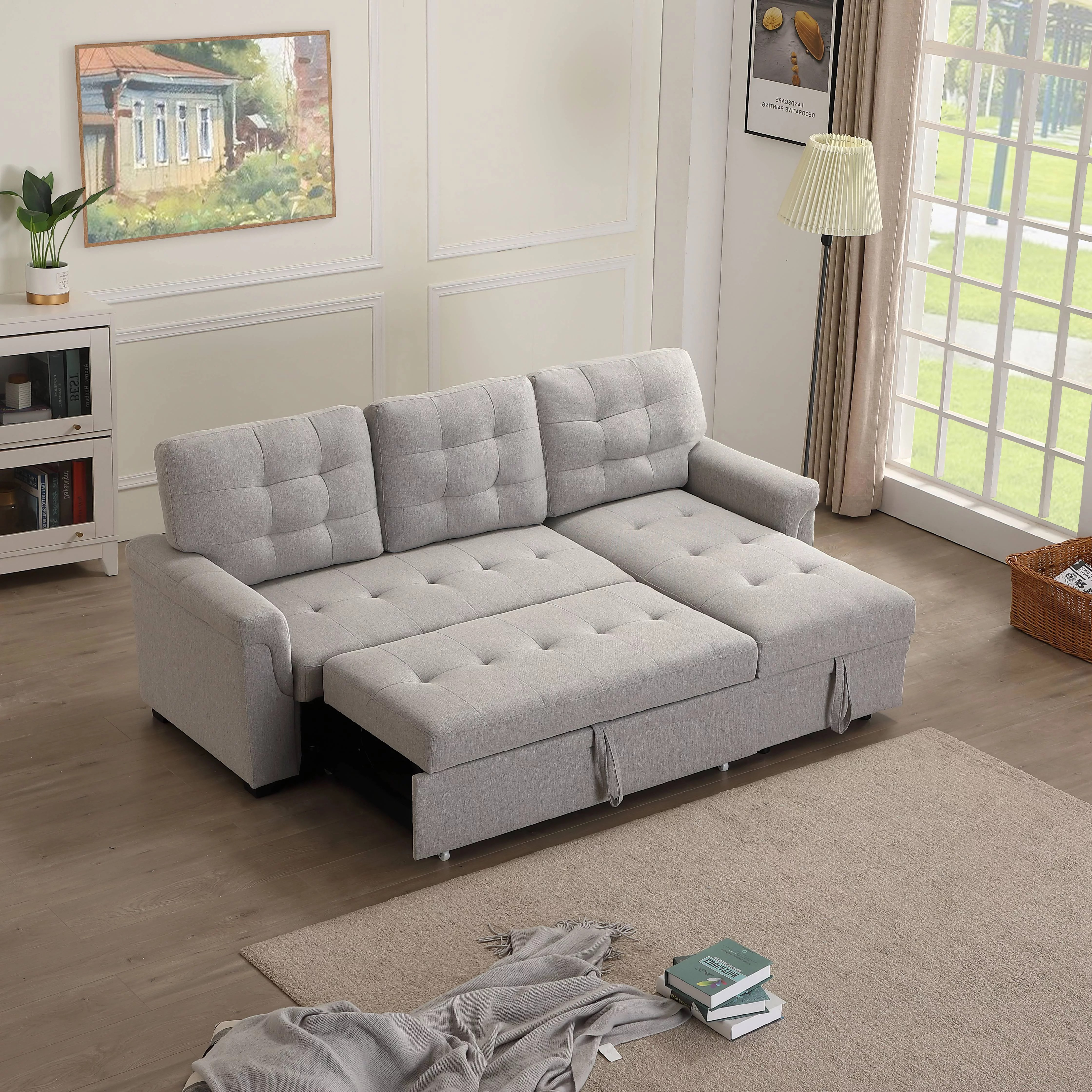 Urhomepro Sectional Sofa Sleeper With Reversible Chaise Modern Convertible Sofa Bed Premium Linen Fabric Living Room Couches And Sofas With Storage Wheels Living Room Furniture For Home Q13712 Walmart Com Walmart Com