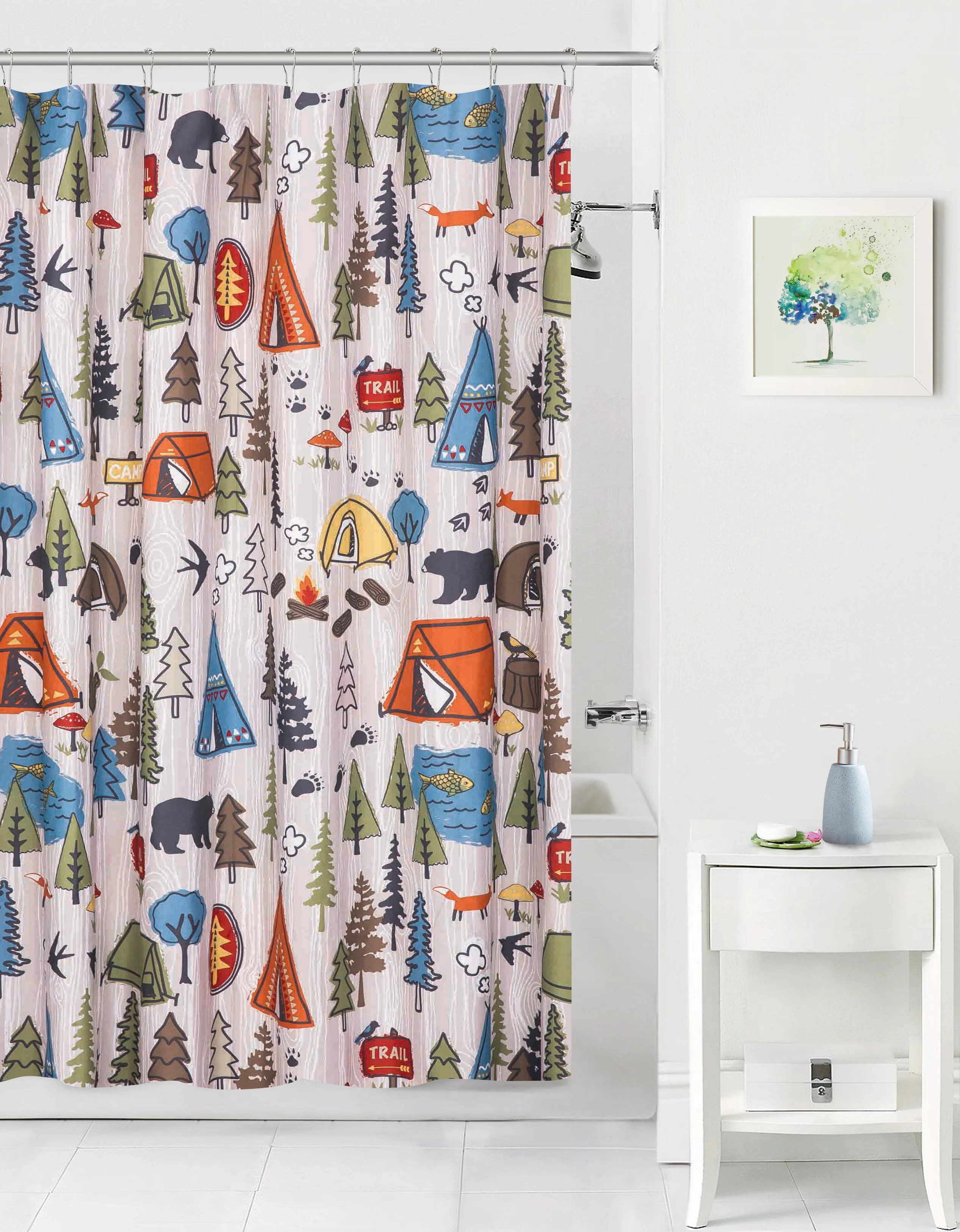 Kids Curtain Fabrics Mainstays Kids Camping Coordinating Fabric Shower Curtain