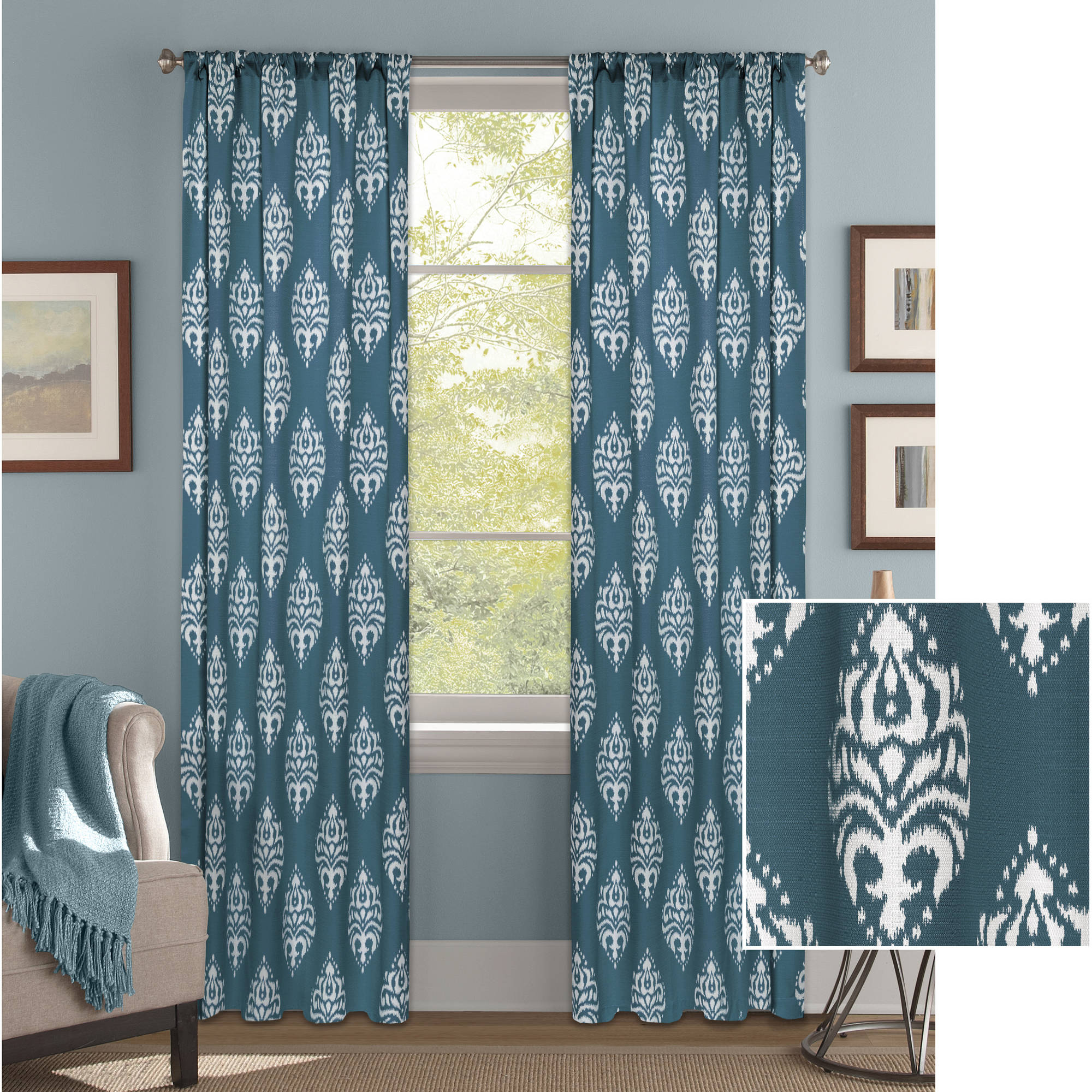 Curtains For Sale At Walmart Better Homes And Gardens Traditional Damask Curtain Panel
