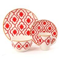 Medallion Trellis 16pc Dinnerware Set-Coral Stoneware ...
