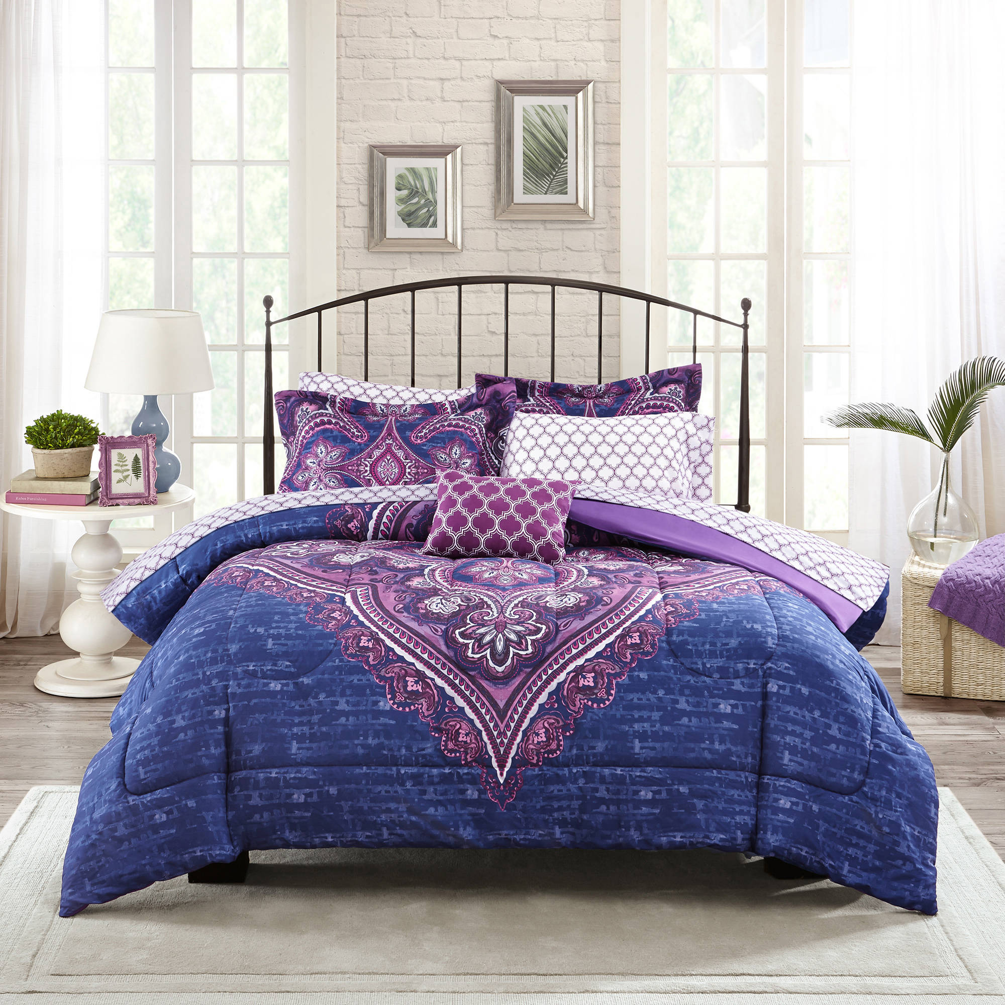 Mainstays grace medallion purple bed in a bag complete bedding set walmart com