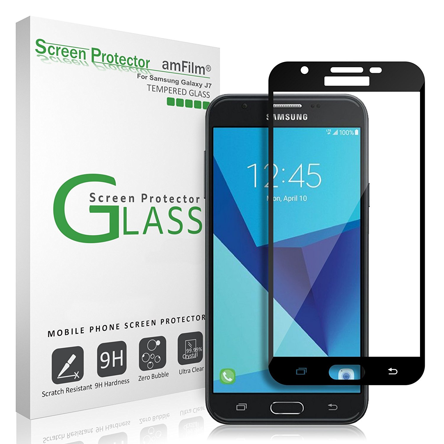 Samsung Screen Samsung Galaxy J7 Amfilm Full Cover Tempered Glass Screen Protector Black