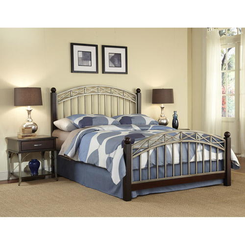 Home Styles Bordeaux Queen Bed and 2 End Tables, Espresso/Pewter - Walmart.com