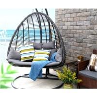 Baner Garden Outdoor Egg-Shaped Swing Chair, Black ...