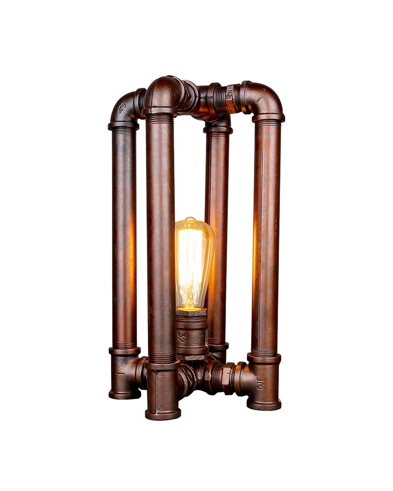 Industrial Style Iron Pipe Table Lamp in Cuboids Cage