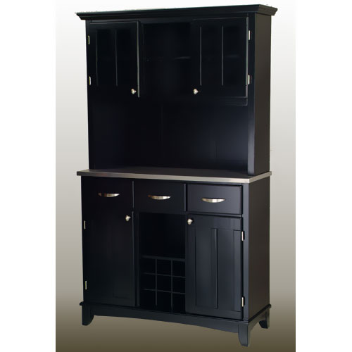 Home Styles Large Buffet with Two Glass Door Hutch, Black ...