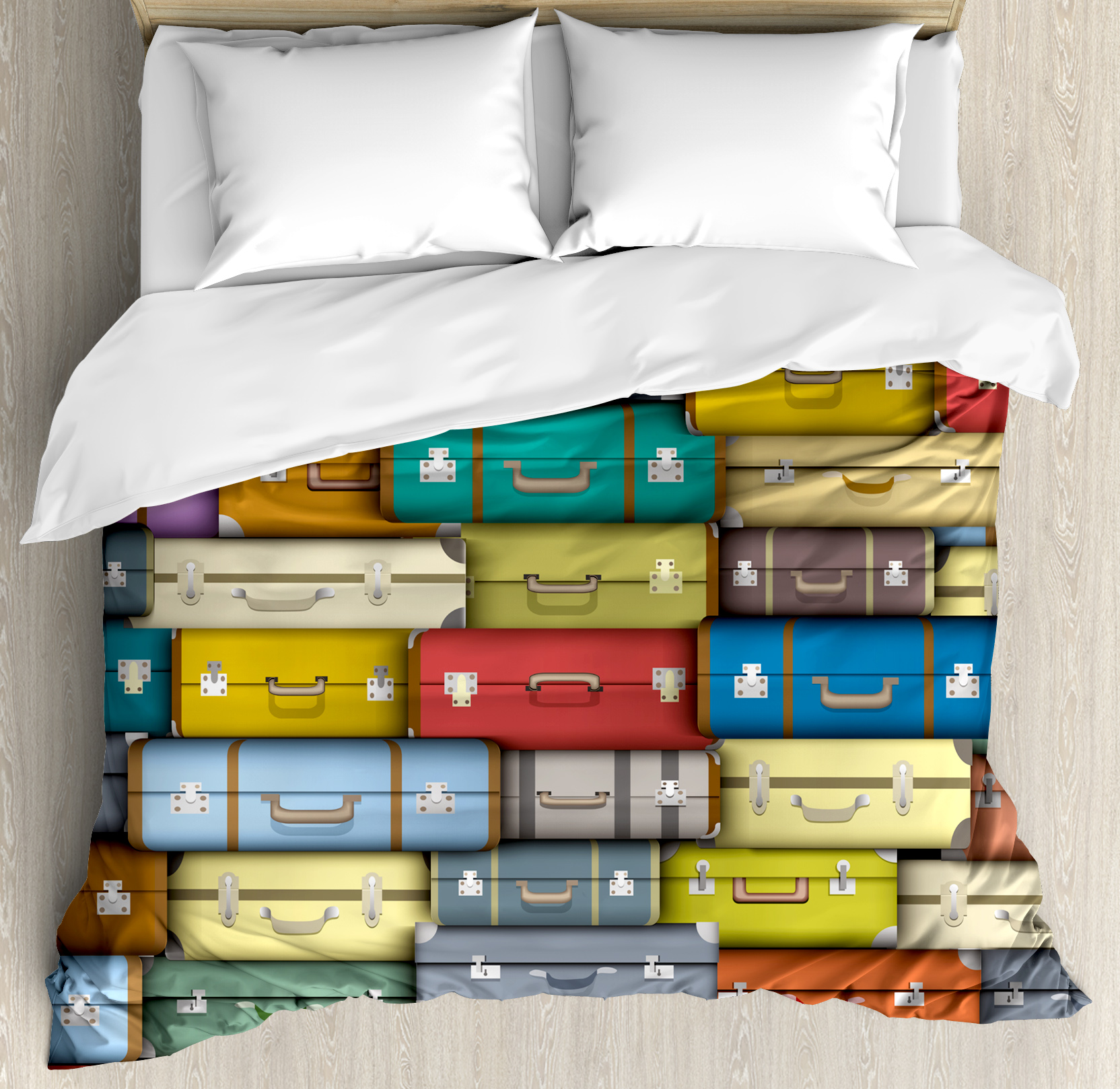 Modern Duvet Modern Duvet Cover Set Colorful Suitcases Background Vintage Travel Voyage Holiday Themed Artful Design Decorative Bedding Set With Pillow Shams