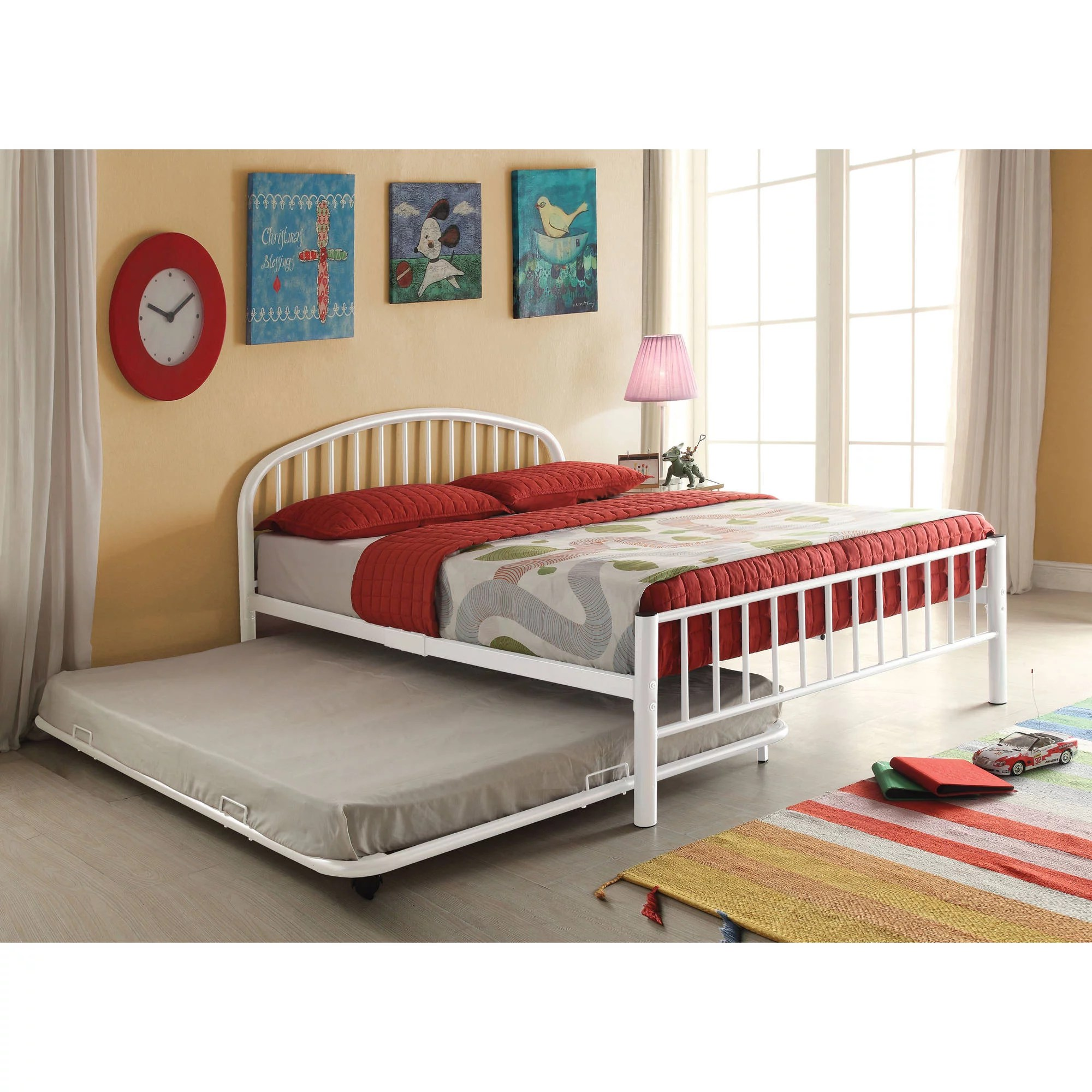 White Trundle Bed Cailyn Full Bed With Trundle White Walmart