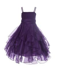 Ekidsbridal Organza Purple Flower Girl Dress Ruffled ...