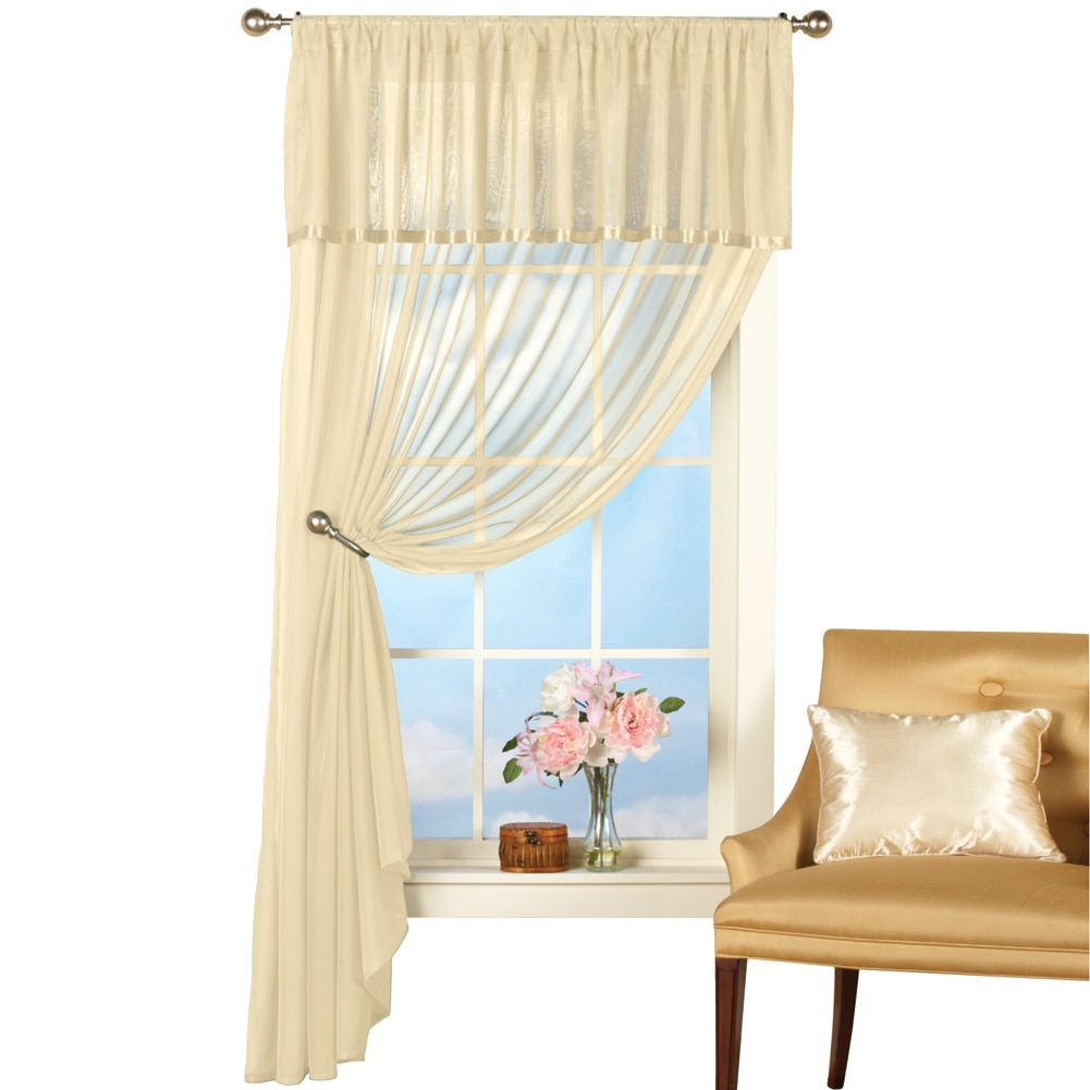 Ribbon Trim Curtains Sheer Privacy Swag Satin Ribbon Trim Rod Pocket Window Curtain Panel Set With Attached Valance White