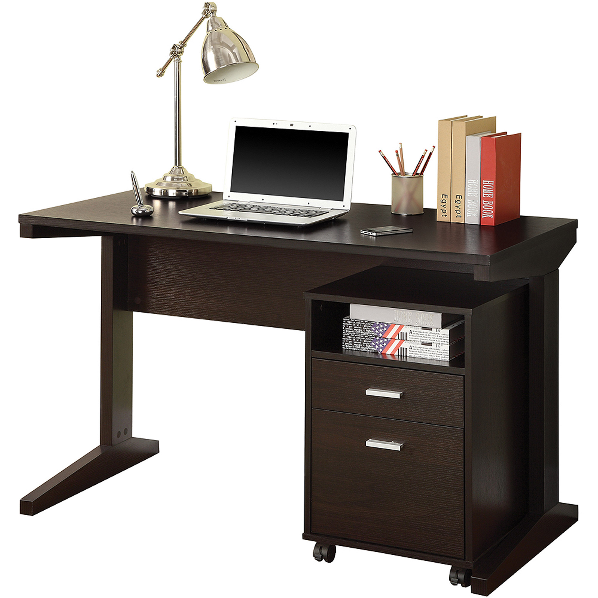 Desk With File Cabinet Coaster Company 2 Piece Desk Set With File Cabinet Cappuccino