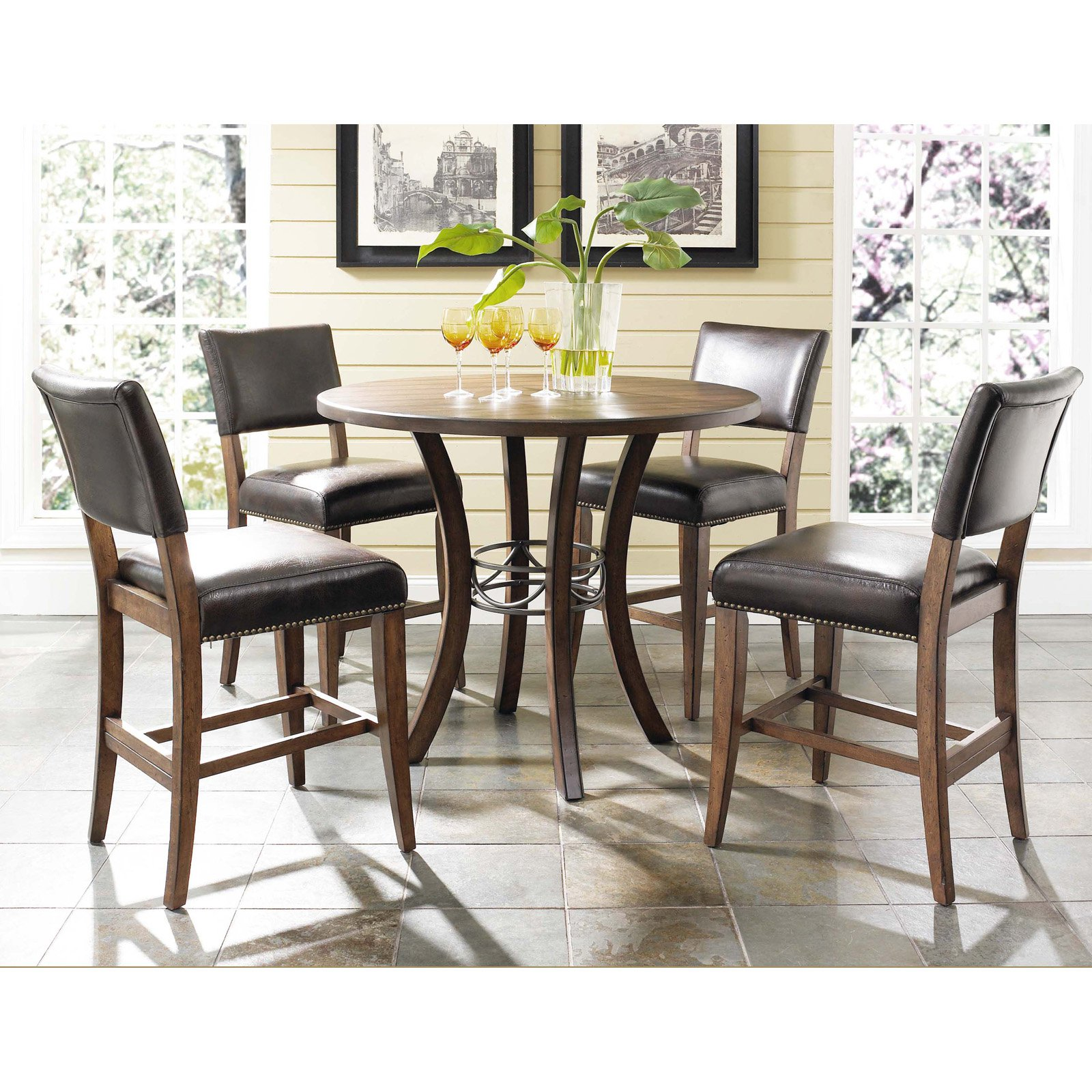 Hillsdale cameron 5 piece counter height round wood dining table set with parson chairs walmart com