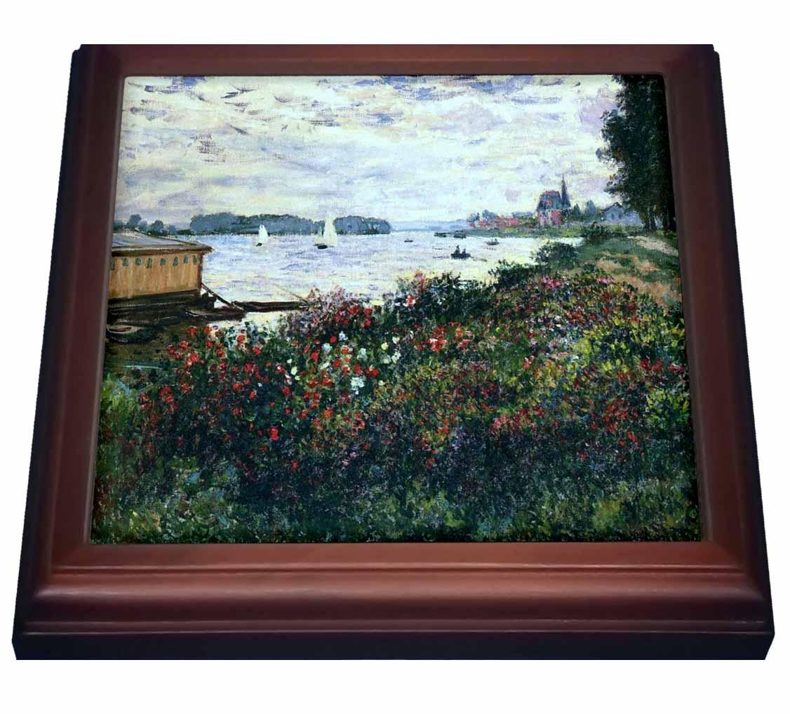 Fly Argenteuil 3drose Print Of Monet Painting Riverbank At Argenteuil Trivet With Ceramic Tile 8 By 8 Inch