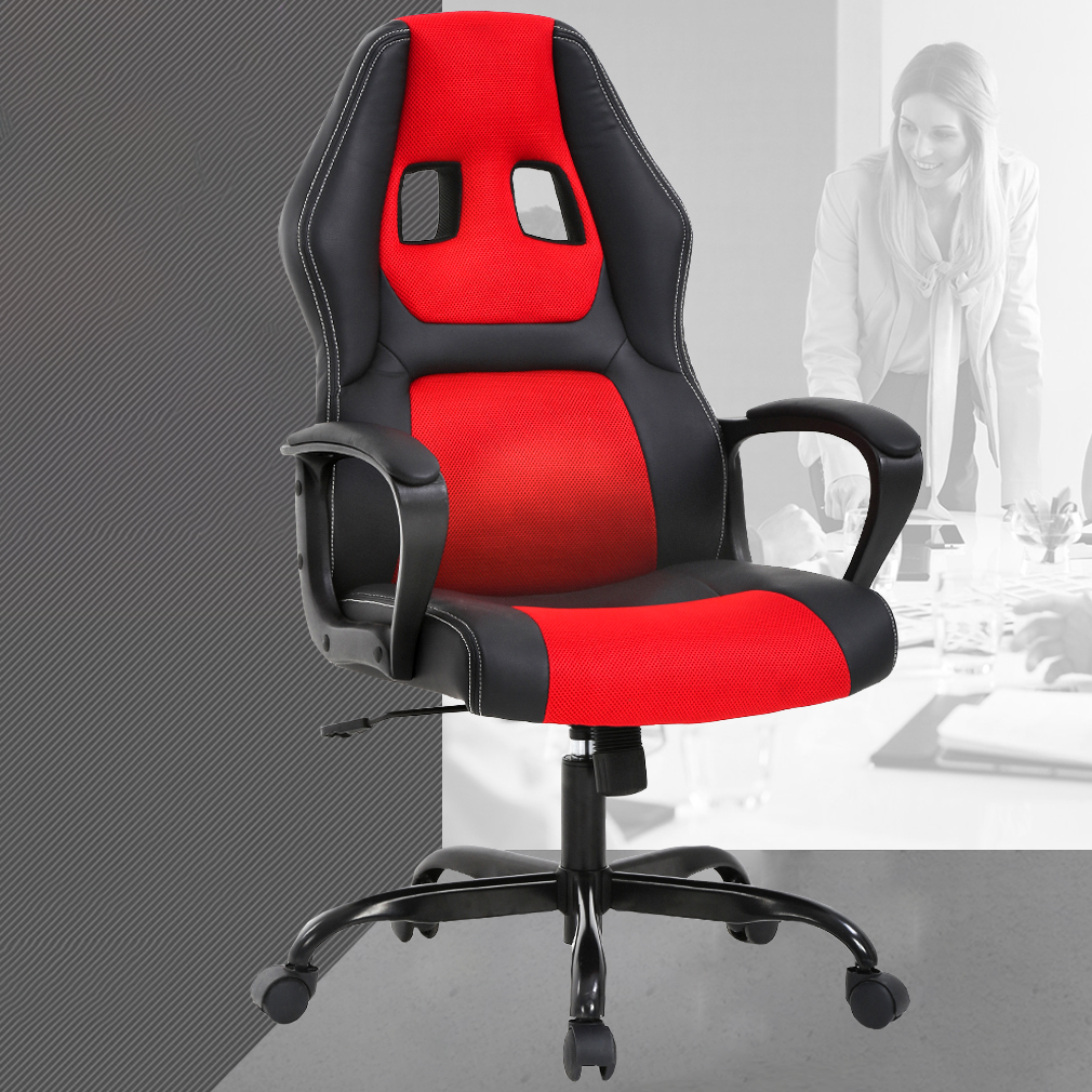 Computer Chair Ergonomically Correct Gaming Chair Office Desk Gaming Chair Racing Ergonomic Computer Chair With Lumbar Support Mesh Seat Metal Swivel Rolling Chair Executive Pu Leather