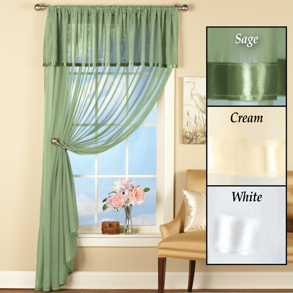 Ribbon Trim Curtains Sheer Privacy Swag Satin Ribbon Trim Rod Pocket Window Curtain Panel Set With Attached Valance Sage
