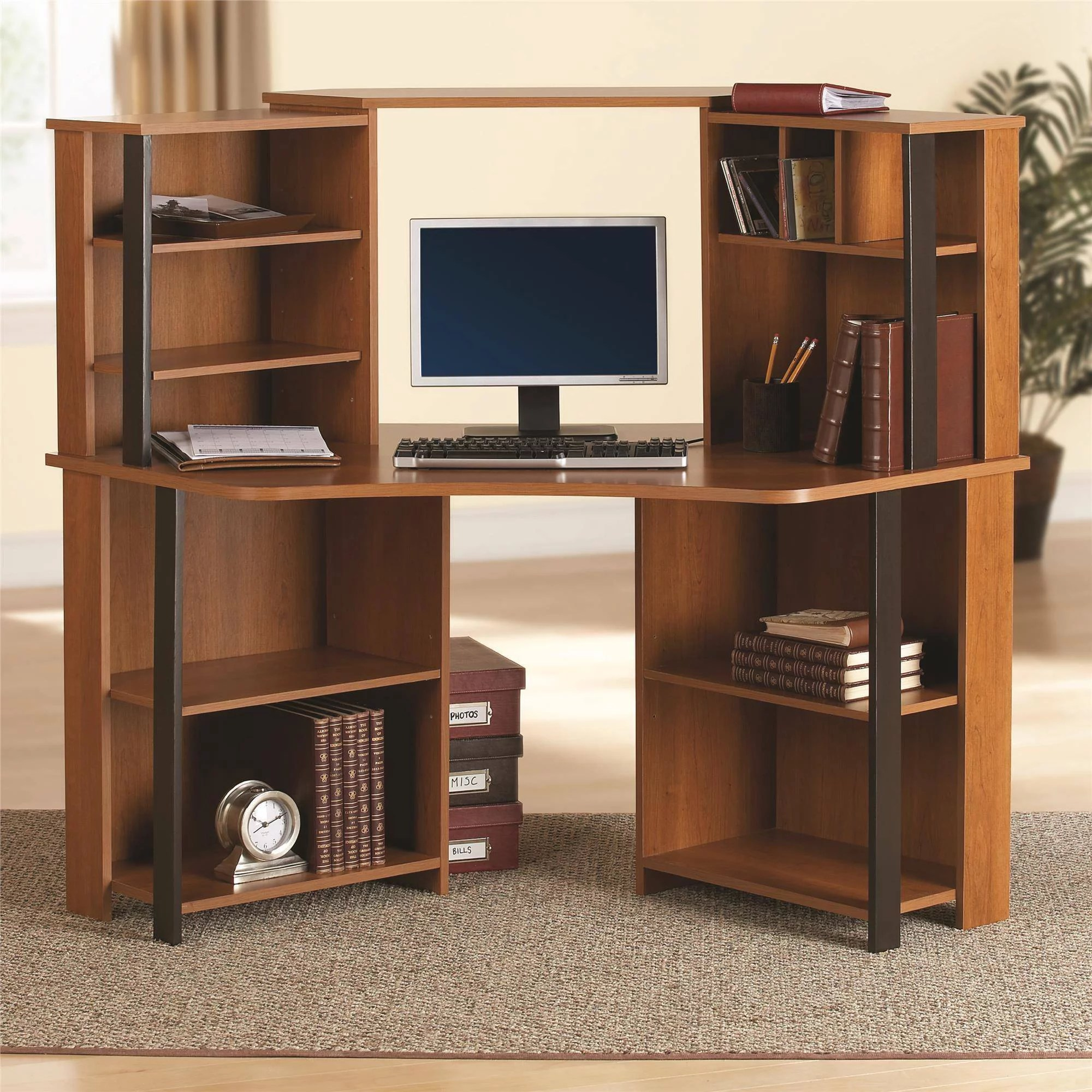 Corner Workstation Office Computer Desk W Hutch Corner Workstation Cherry