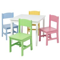 Best Choice Products Wooden Kids Table And 4 Chairs Set ...
