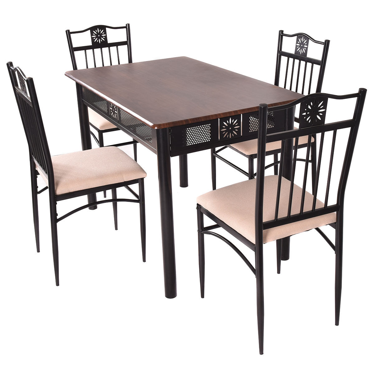 Breakfast Room Tables Costway 5 Piece Dining Set Wood Metal Table And 4 Chairs Kitchen Breakfast Furniture