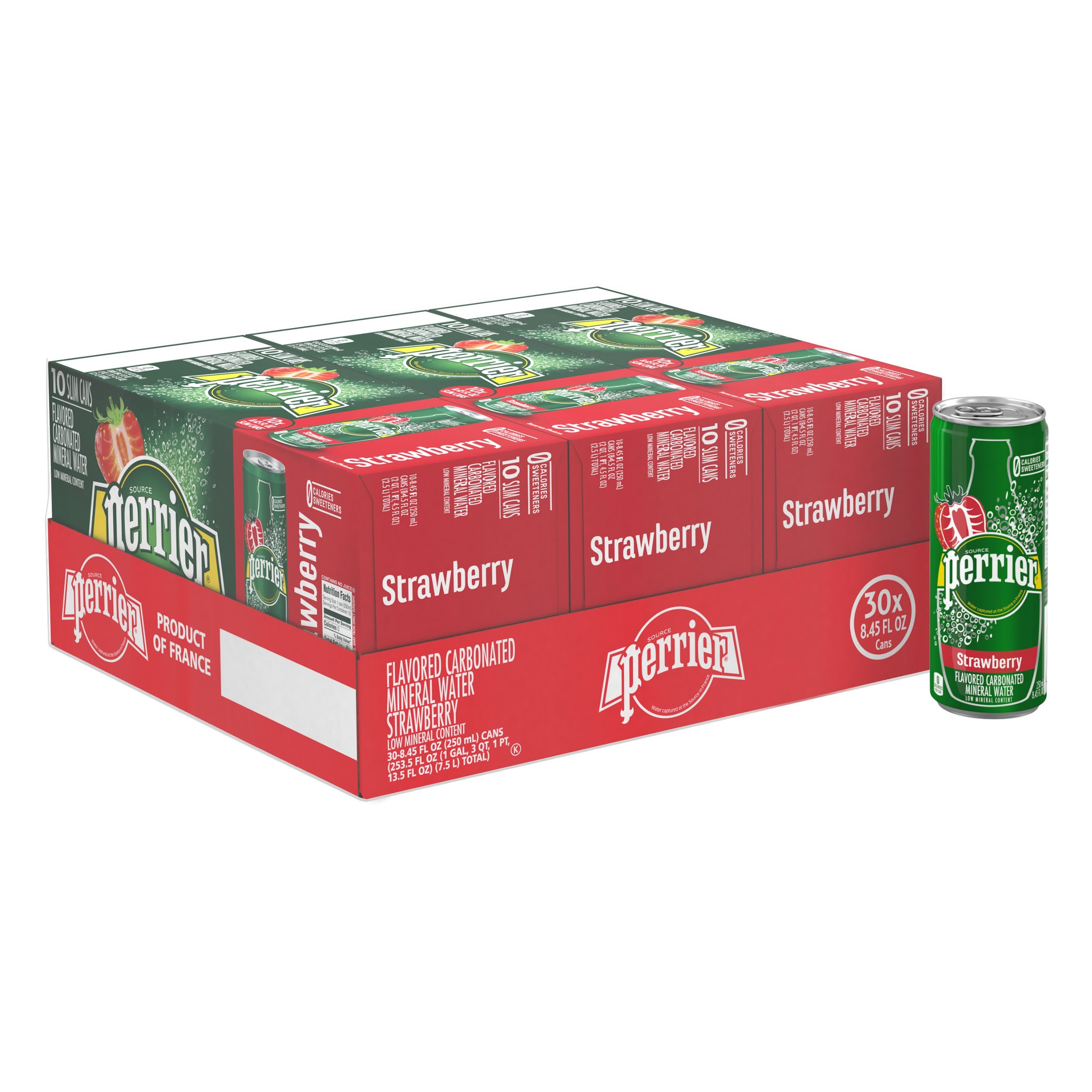 Sofa Paradies 2000 Perrier Strawberry Flavored Carbonated Mineral Water 8 45 Fl Oz Slim Cans 30 Count