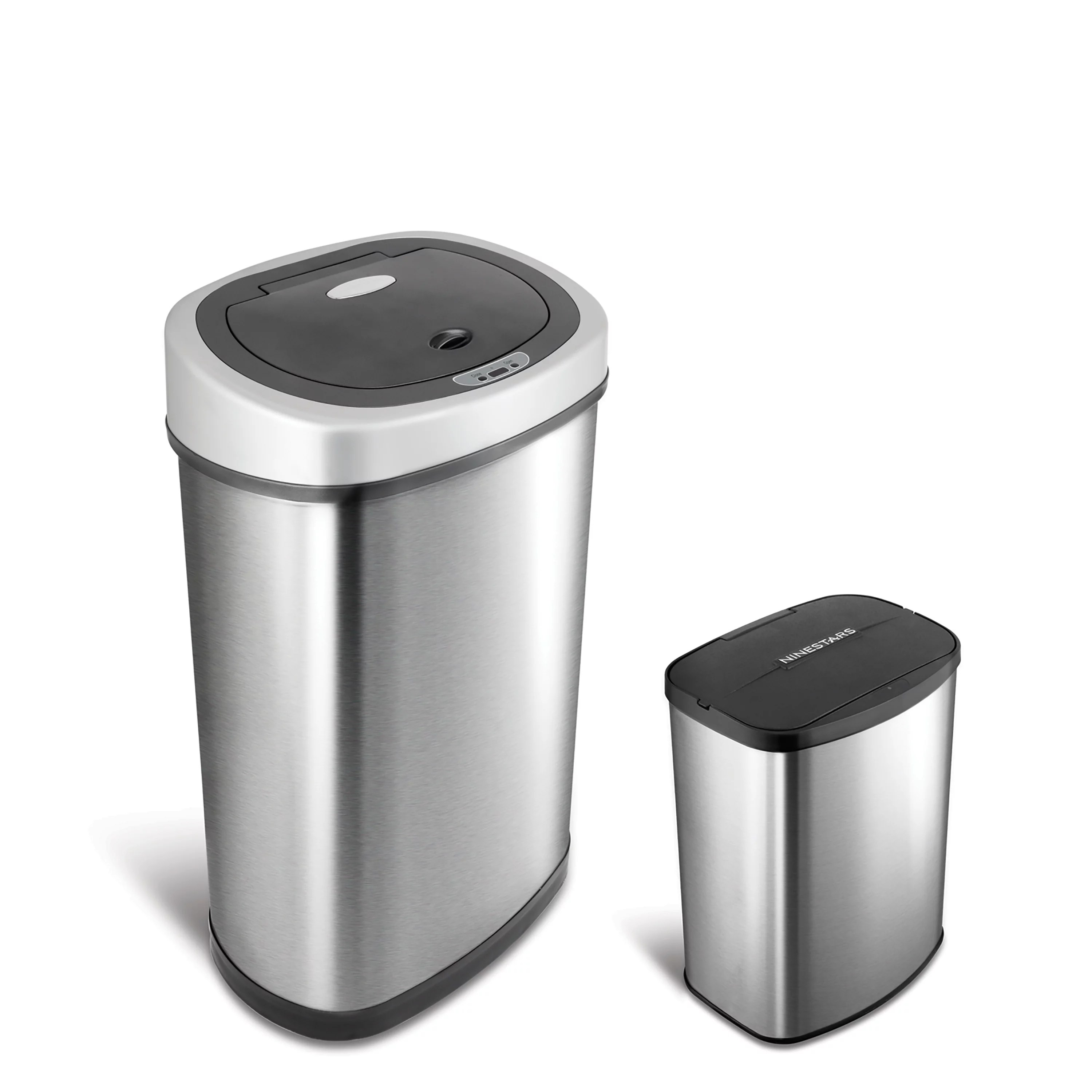Laundry Trash Cans Nine Stars Motion Sensor Touchless 13 2 Gal 2 1 Gal Trash Can Combo Stainless Steel