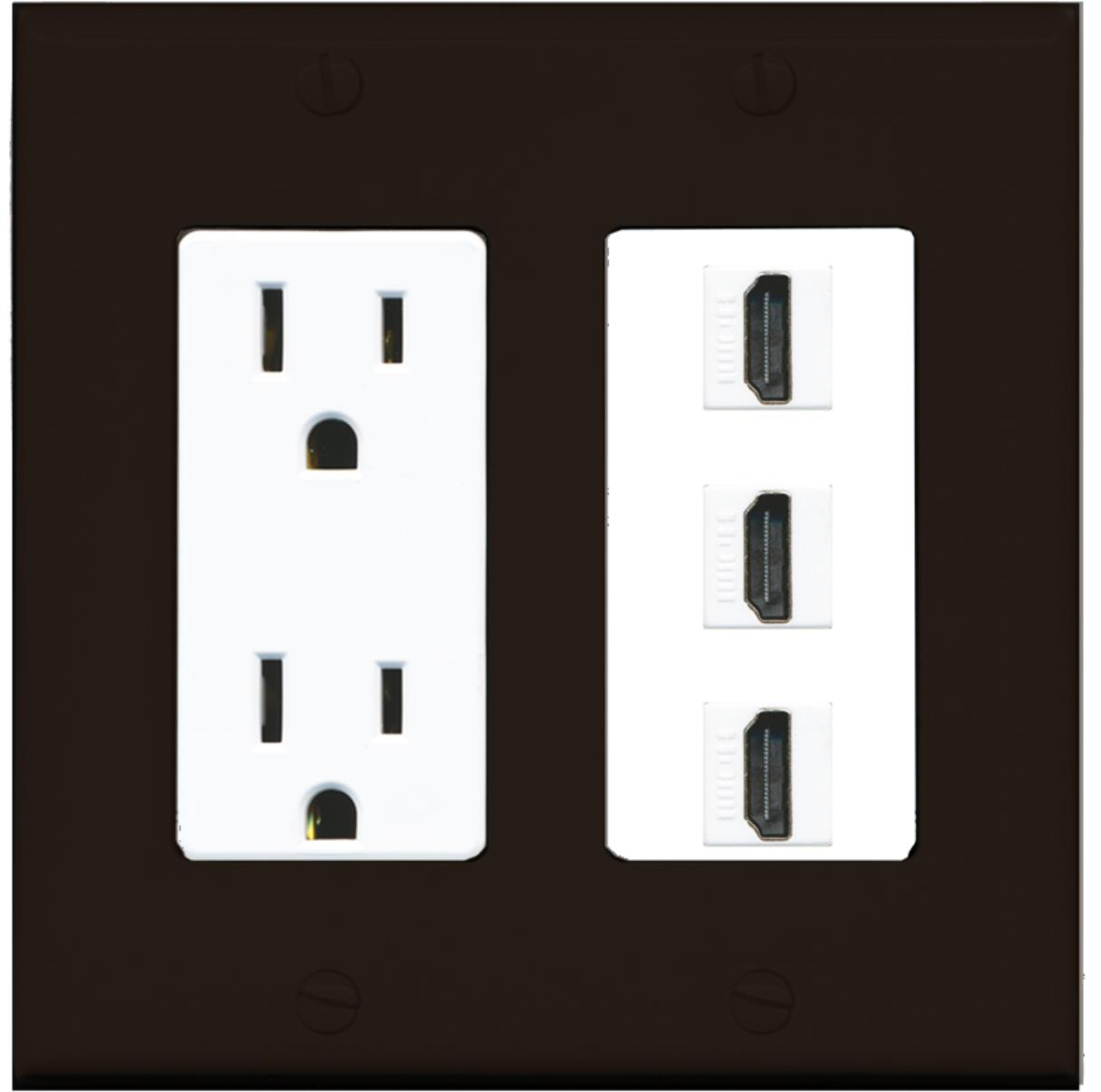 Hdmi Outlet Riteav 15 Amp Power Outlet 3 Port Hdmi Decora Wall Plate Brown White