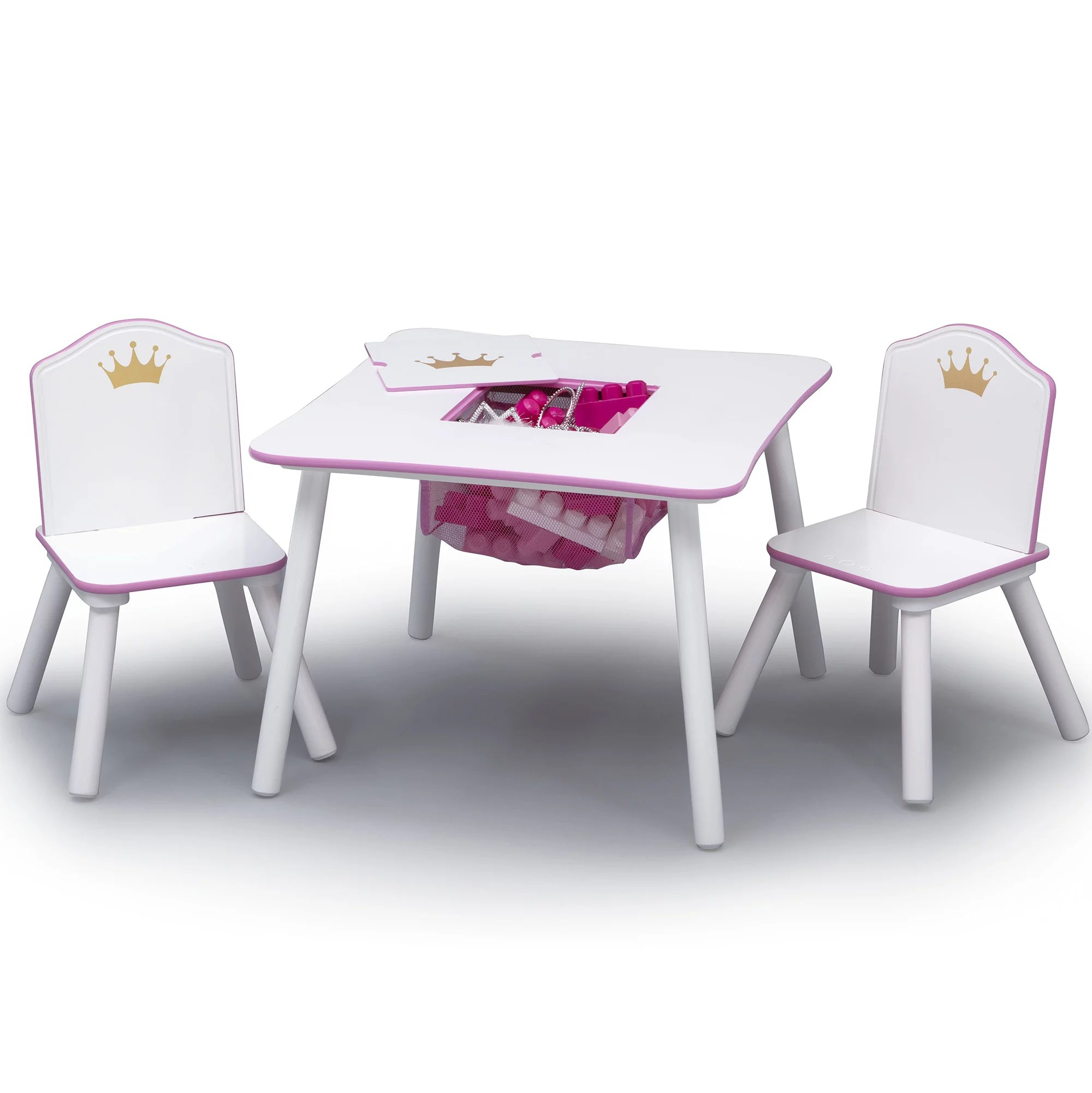 Childrens Table And Chair Set Delta Children Princess Crown Kids Table And Chair Set With Storage White Pink