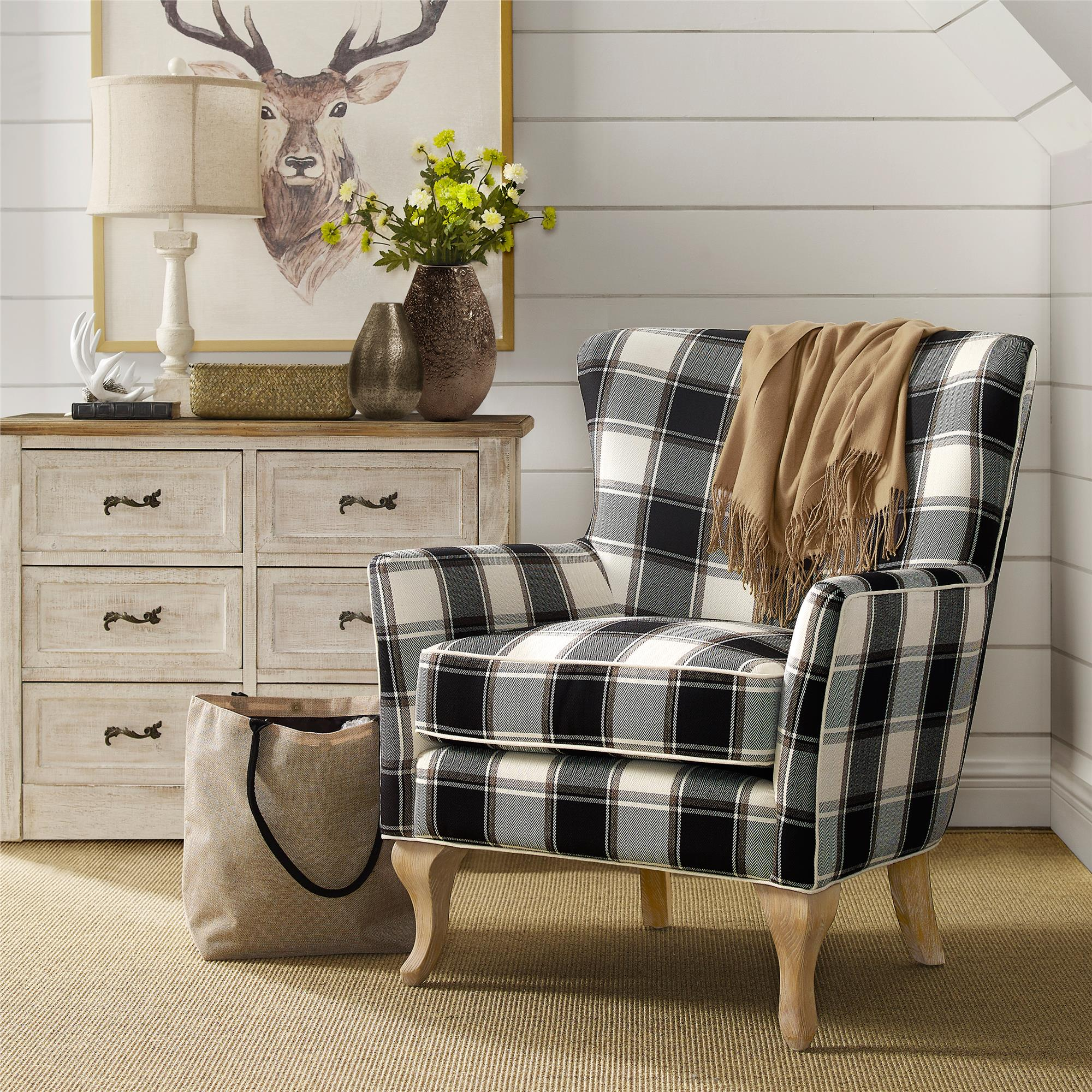 Black And White Accent Chair Dorel Living Middlebury Checkered Pattern Accent Chair Black White Checkered