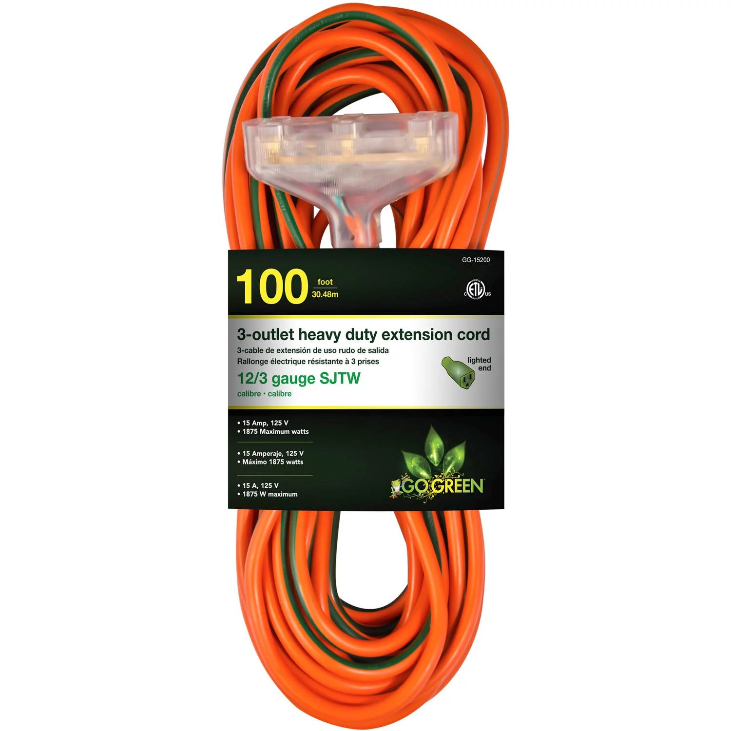 Garage Heater Extension Cord Gogreen Power 12 3 100 15200 3 Outlet Heavy Duty Extension Cord Lighted End