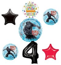 Black Panther Party Supplies 4th Birthday Balloon Bouquet ...