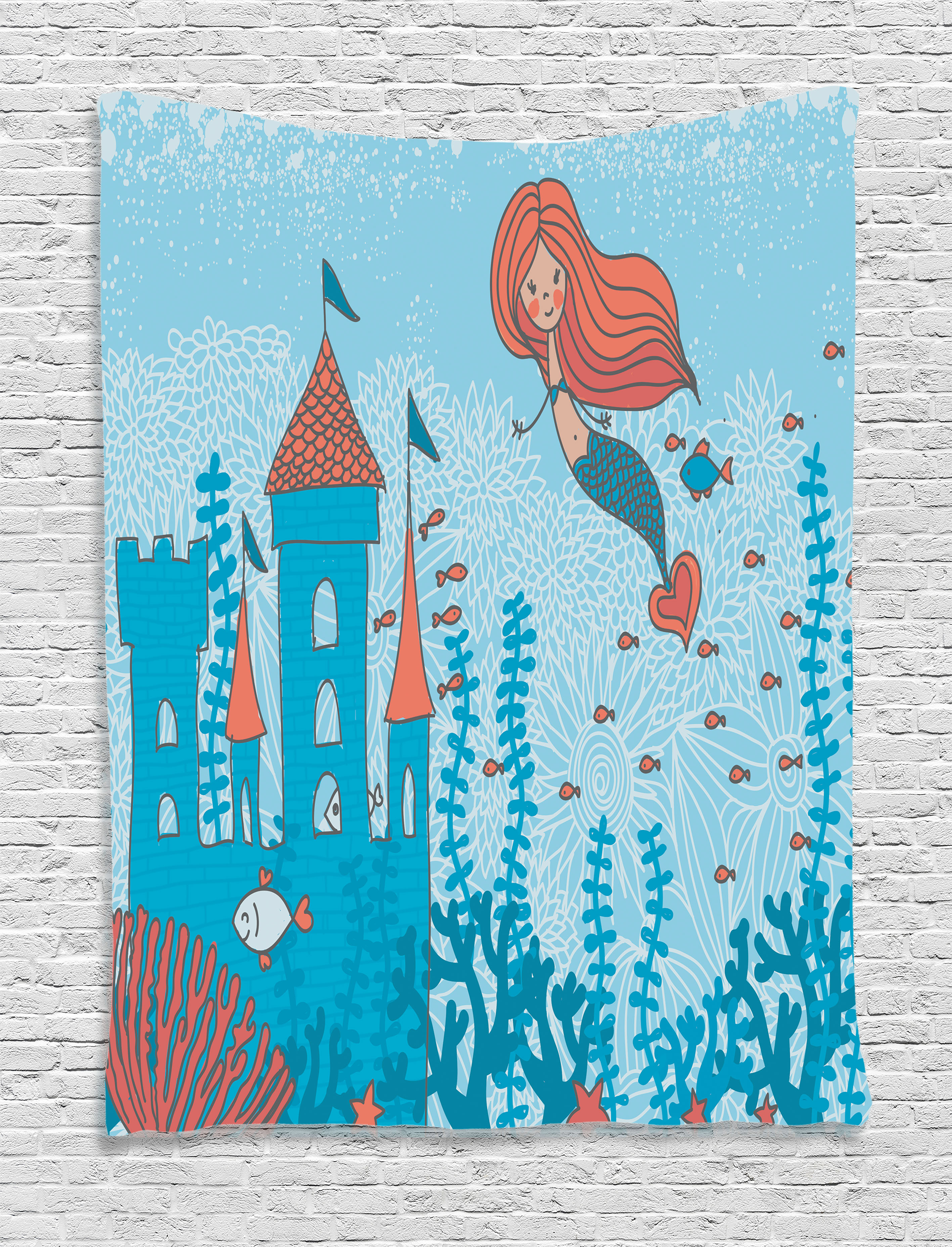 Kids Mermaid Wall Art Kids Wall Hanging Tapestry Illustration Art Of Little