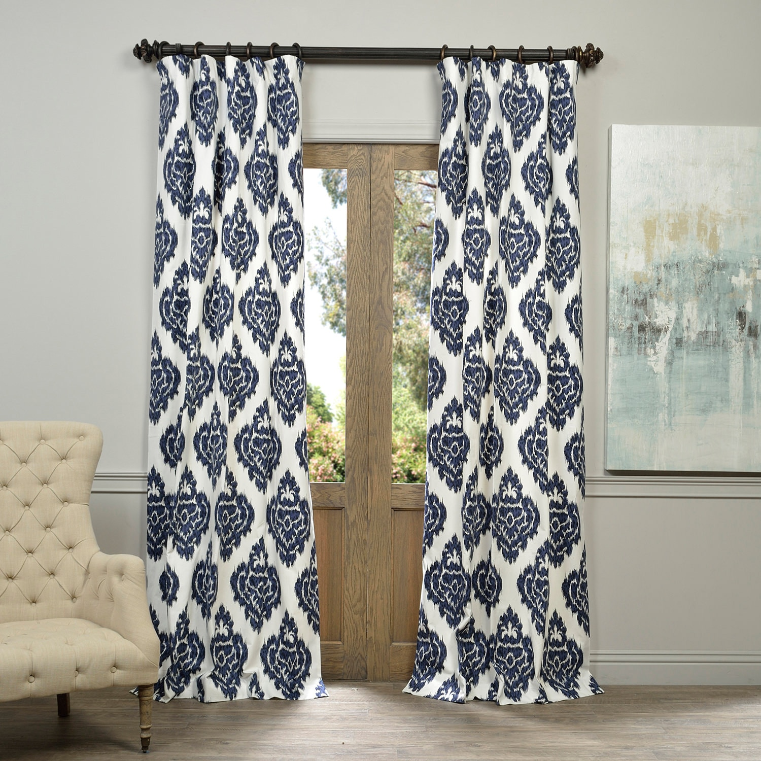 Cotton Curtain Panels Exclusive Fabrics Ikat Blue Printed Cotton Curtain Panel