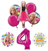 Barbie 4th Birthday Party Supplies and Balloon Bouquet ...